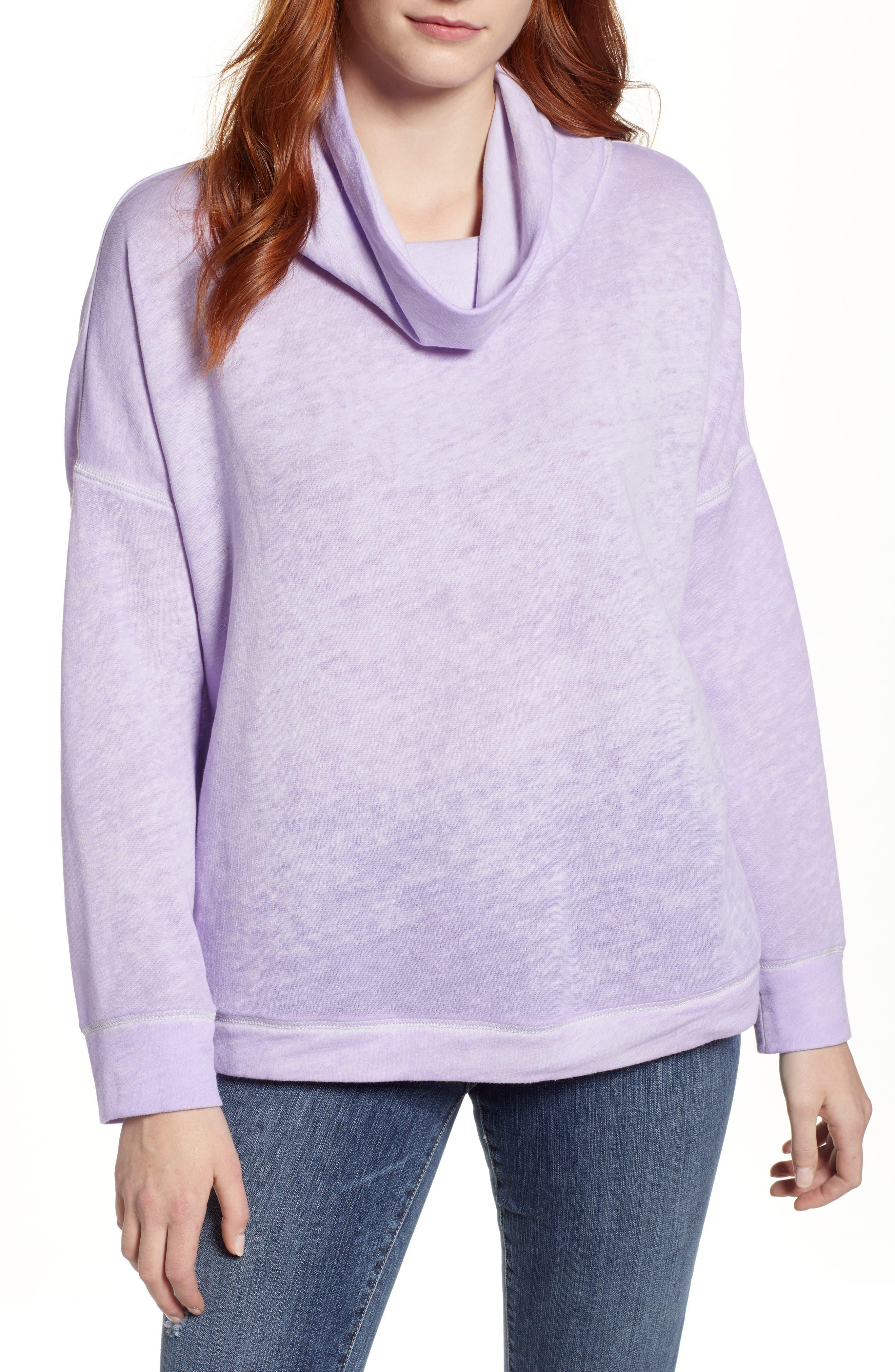 Burnout Back Pleat Sweatshirt,                         Main,                         color, 510