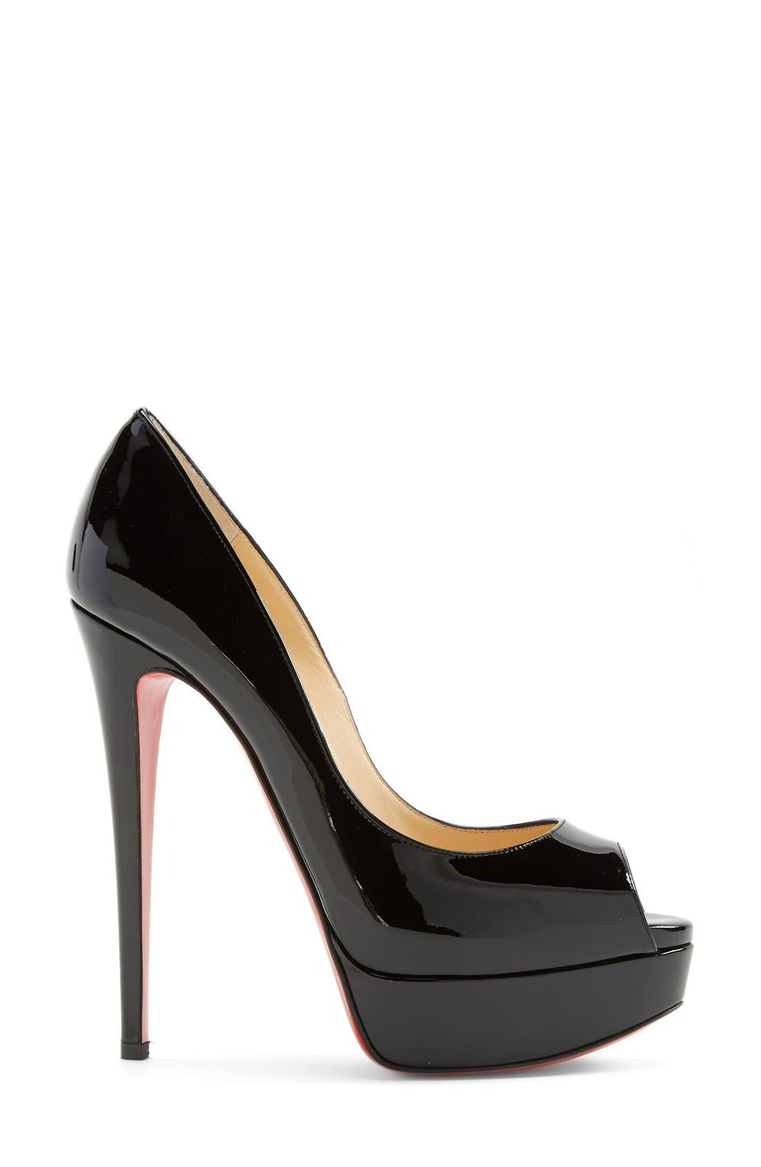 CHRISTIAN LOUBOUTIN,                             'Lady Peep' Open Toe Pump,                             Alternate thumbnail 3, color,                             002