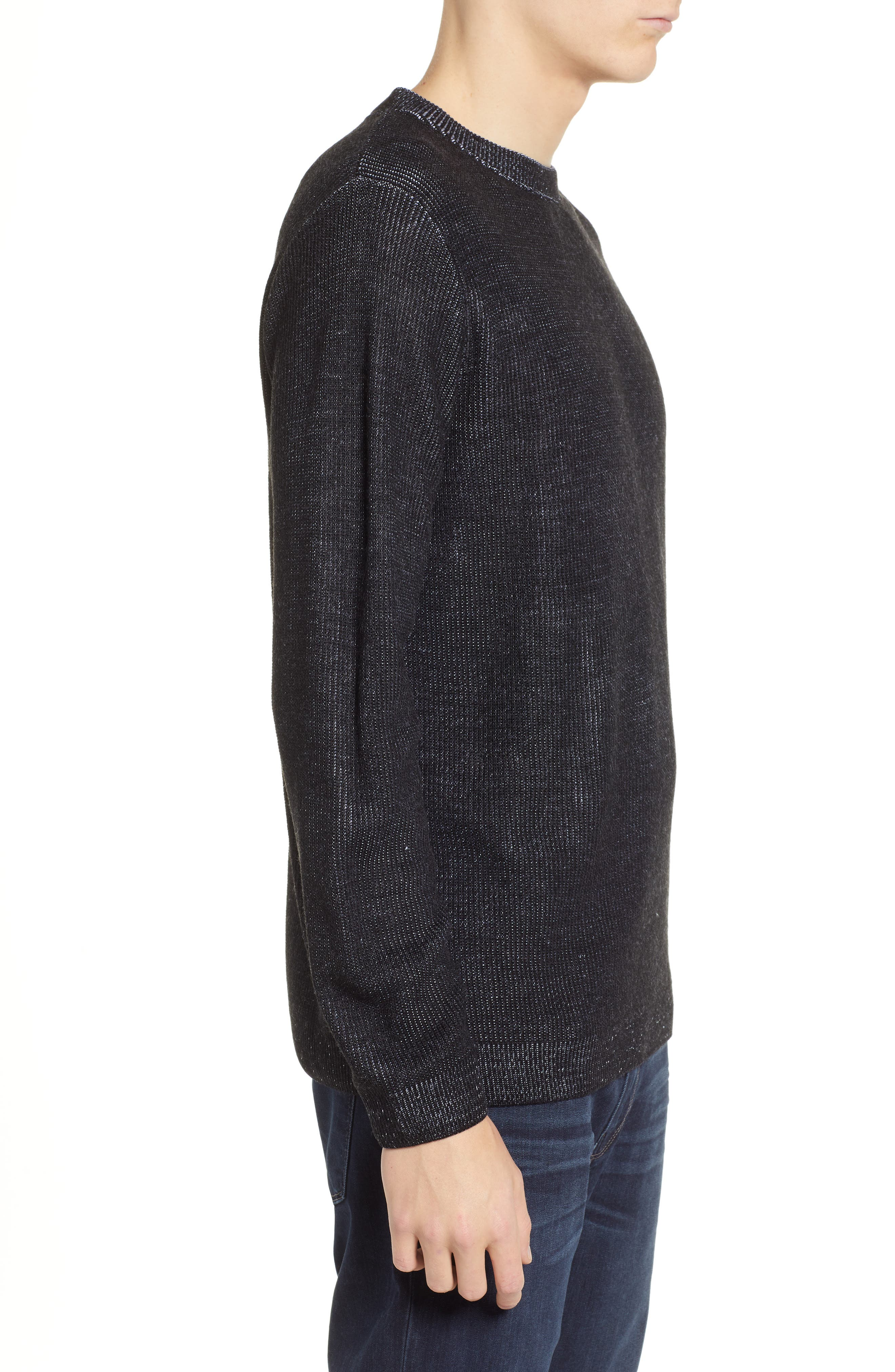Plaited Crewneck Sweater,                             Alternate thumbnail 3, color,                             BLACK