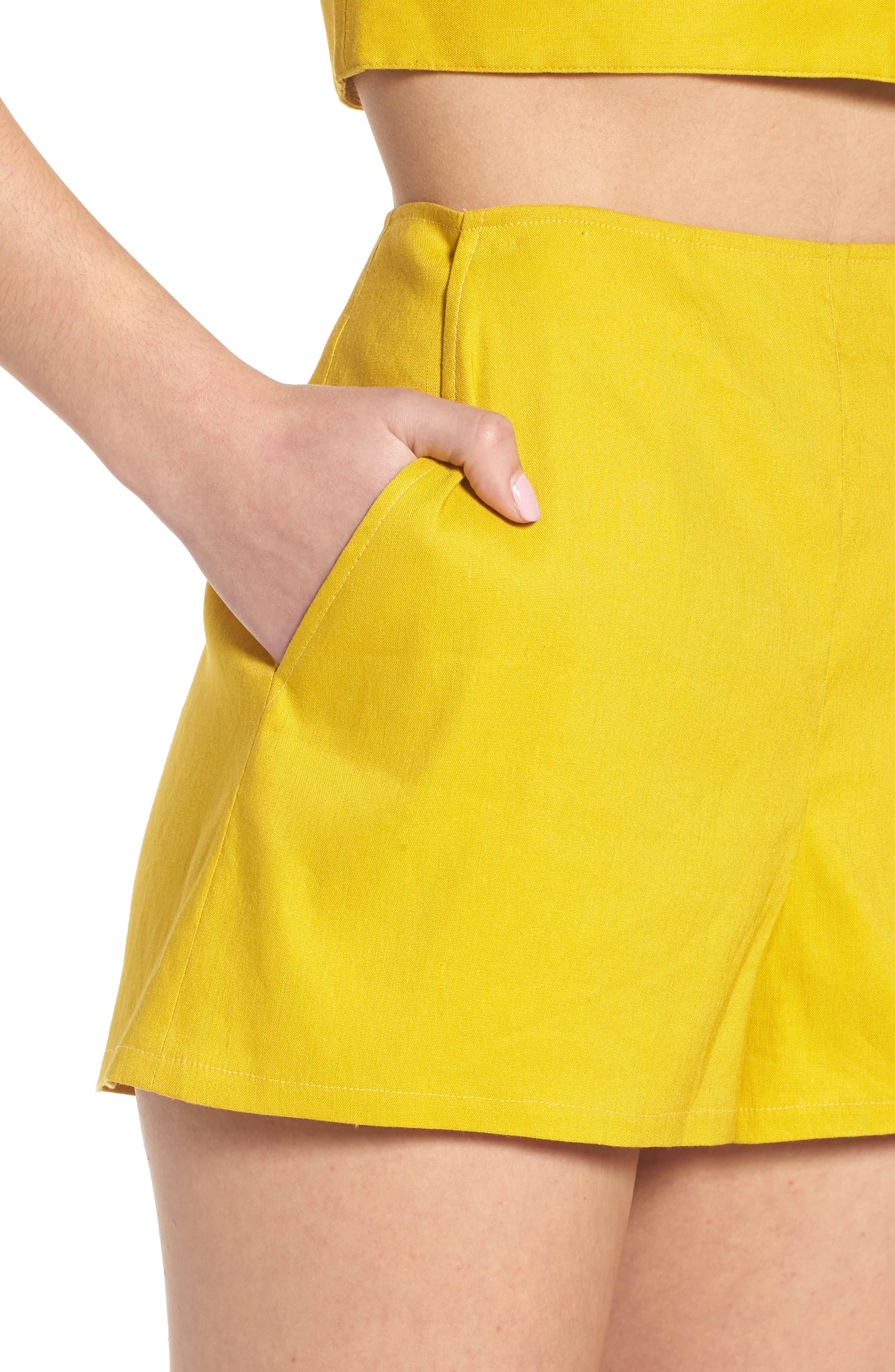 High Waist Linen Blend Shorts,                             Alternate thumbnail 19, color,