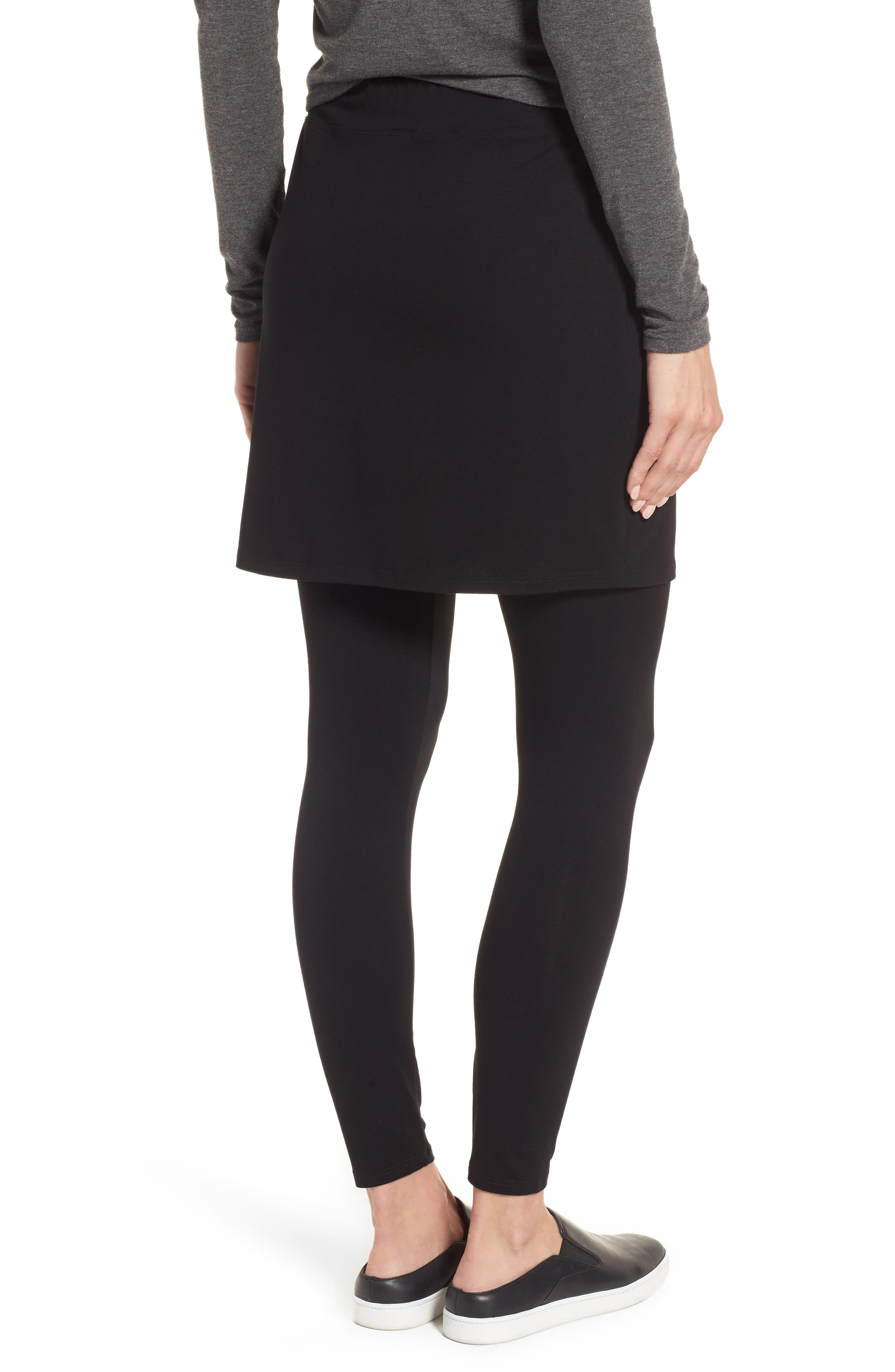 Skirted Ankle Leggings,                             Alternate thumbnail 3, color,                             BLACK