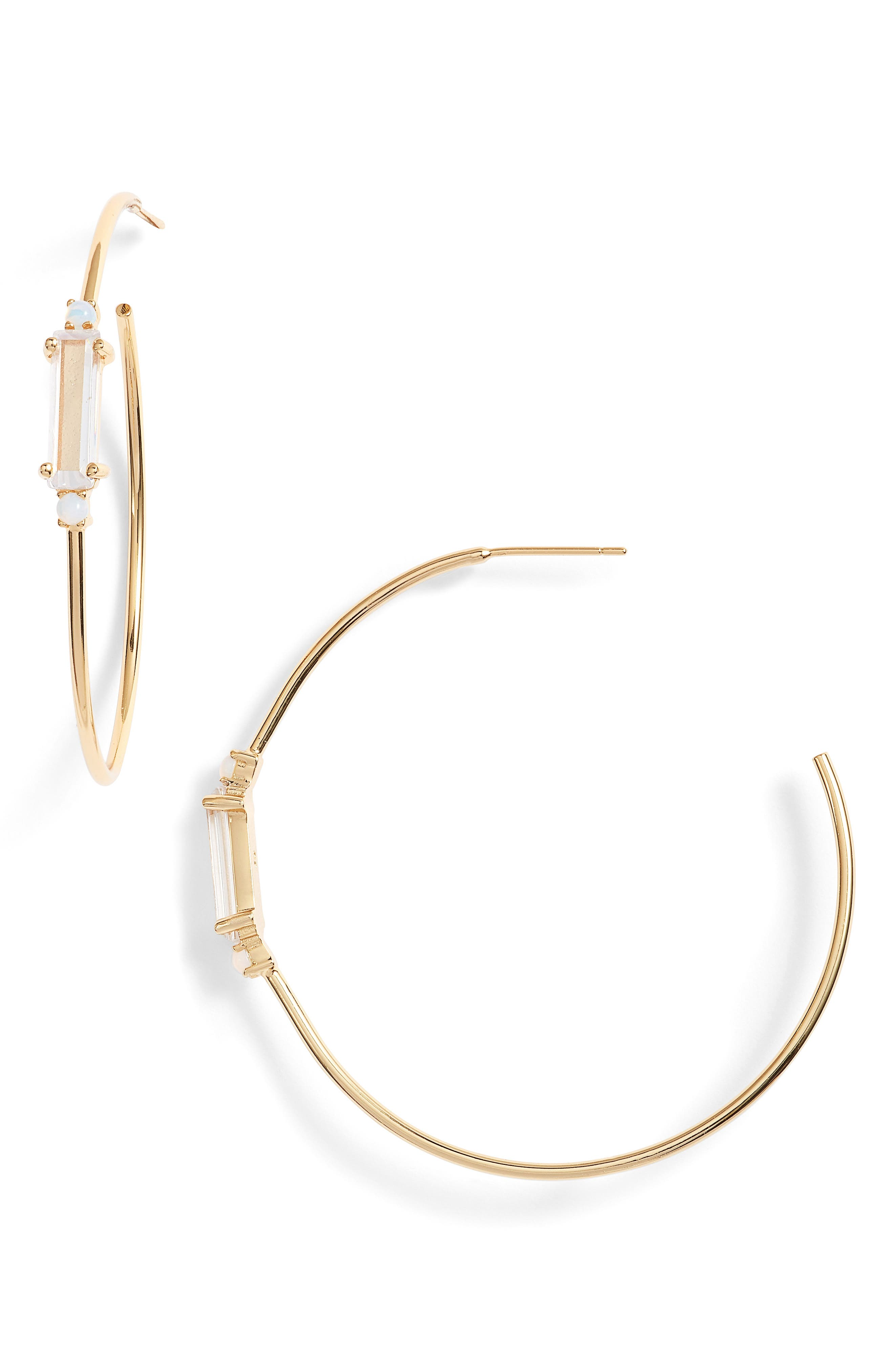 Leilani Cubic Zirconia Hoop Earrings,                             Main thumbnail 1, color,                             710