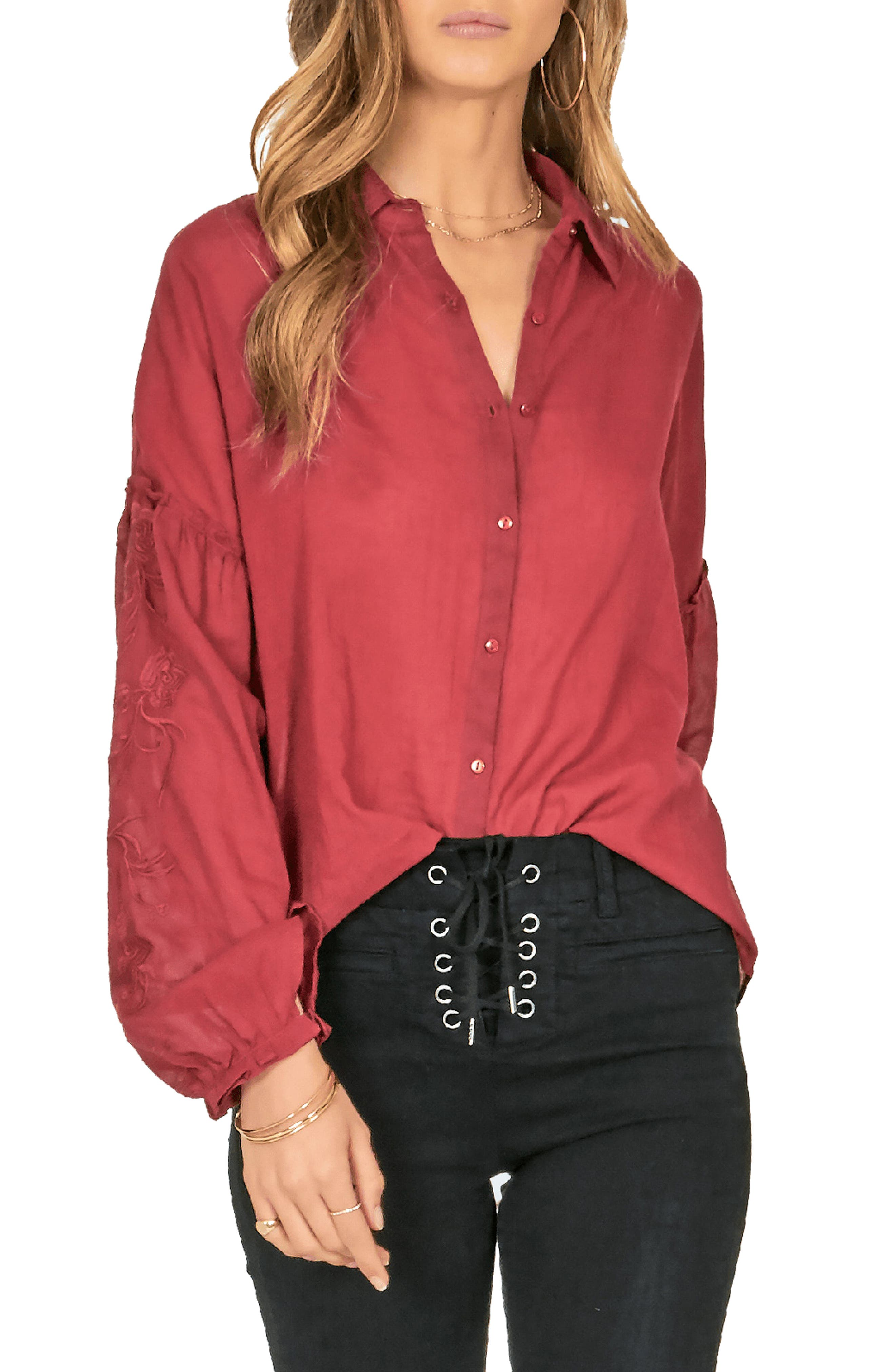 AMUSE SOCIETY Everyday Love Embroidered Blouse in Crimson