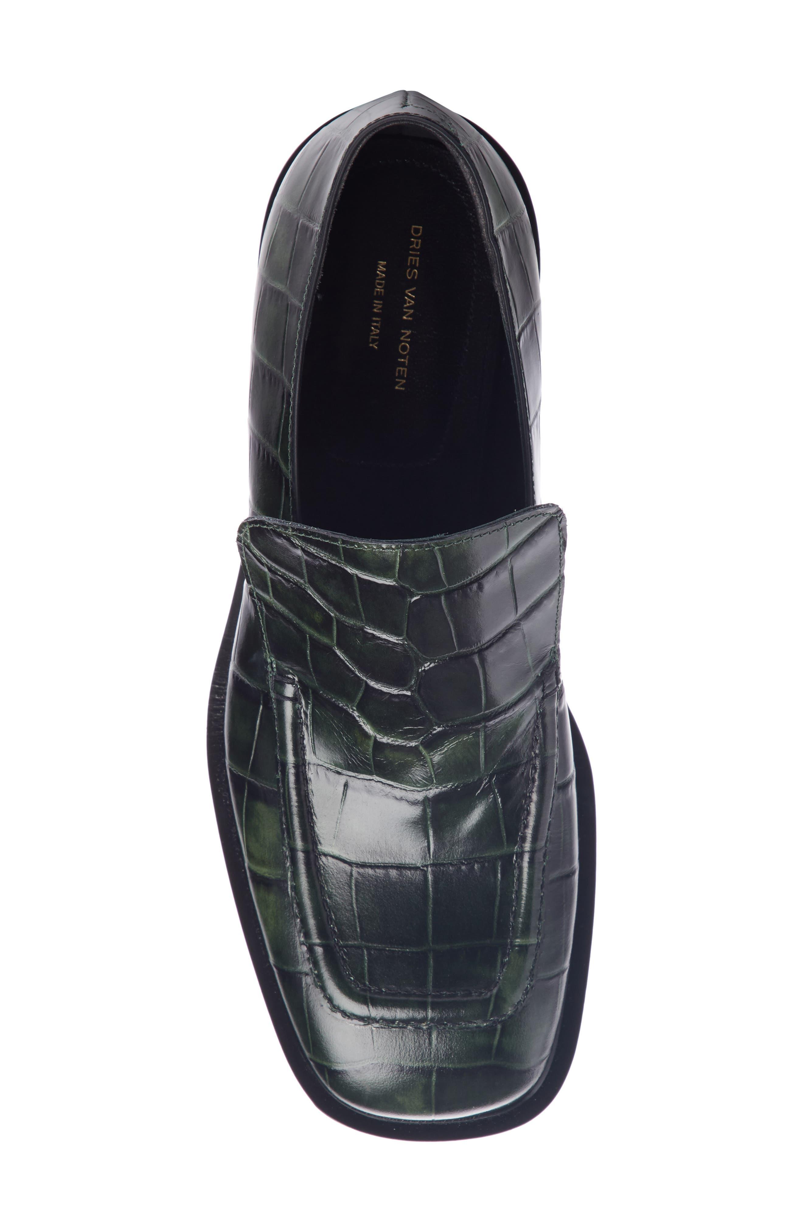 Croc Embossed Loafer,                             Alternate thumbnail 4, color,                             FOREST GREEN