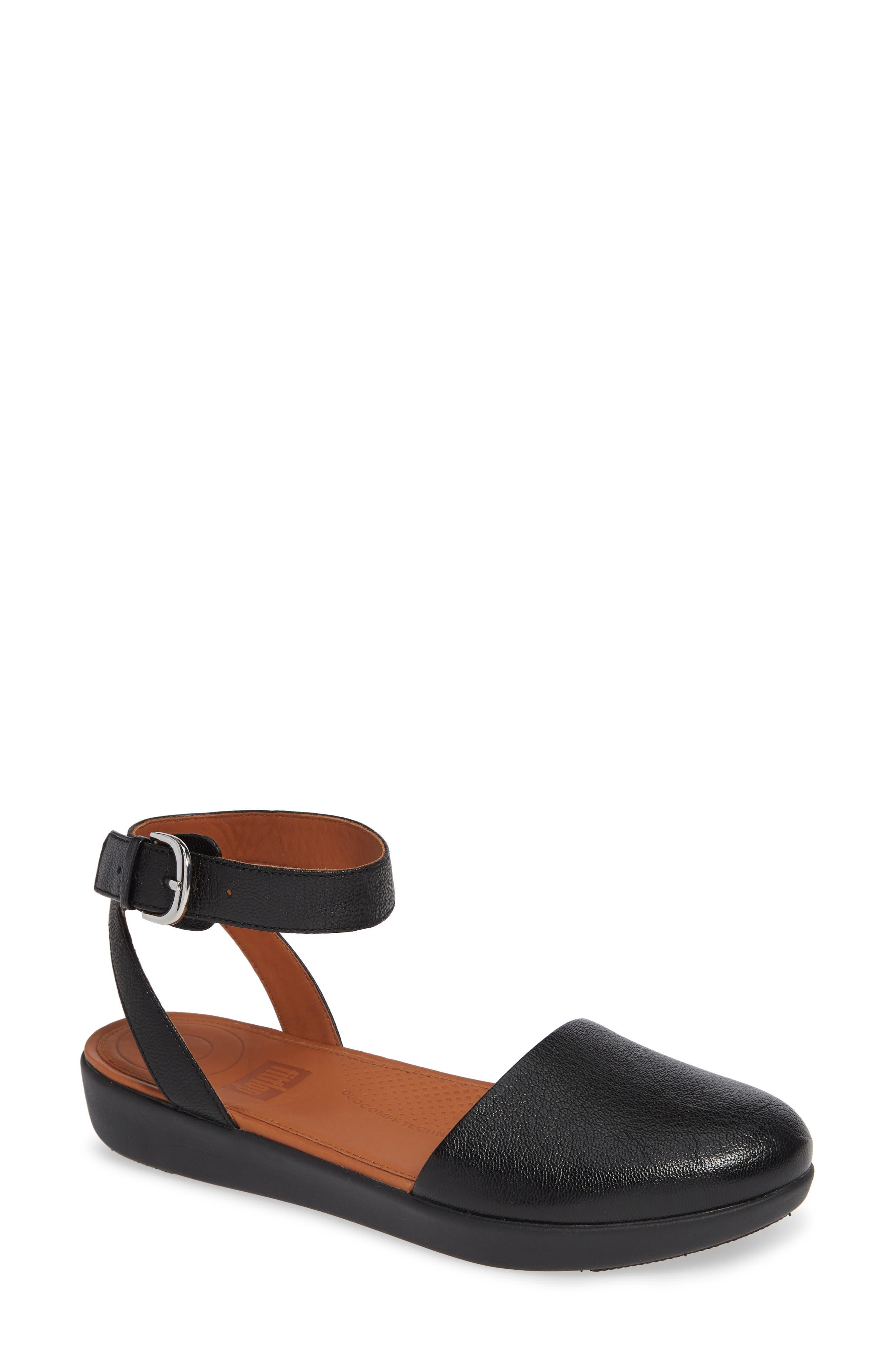 Cova Ankle Strap Sandal,                             Main thumbnail 1, color,                             BLACK LEATHER