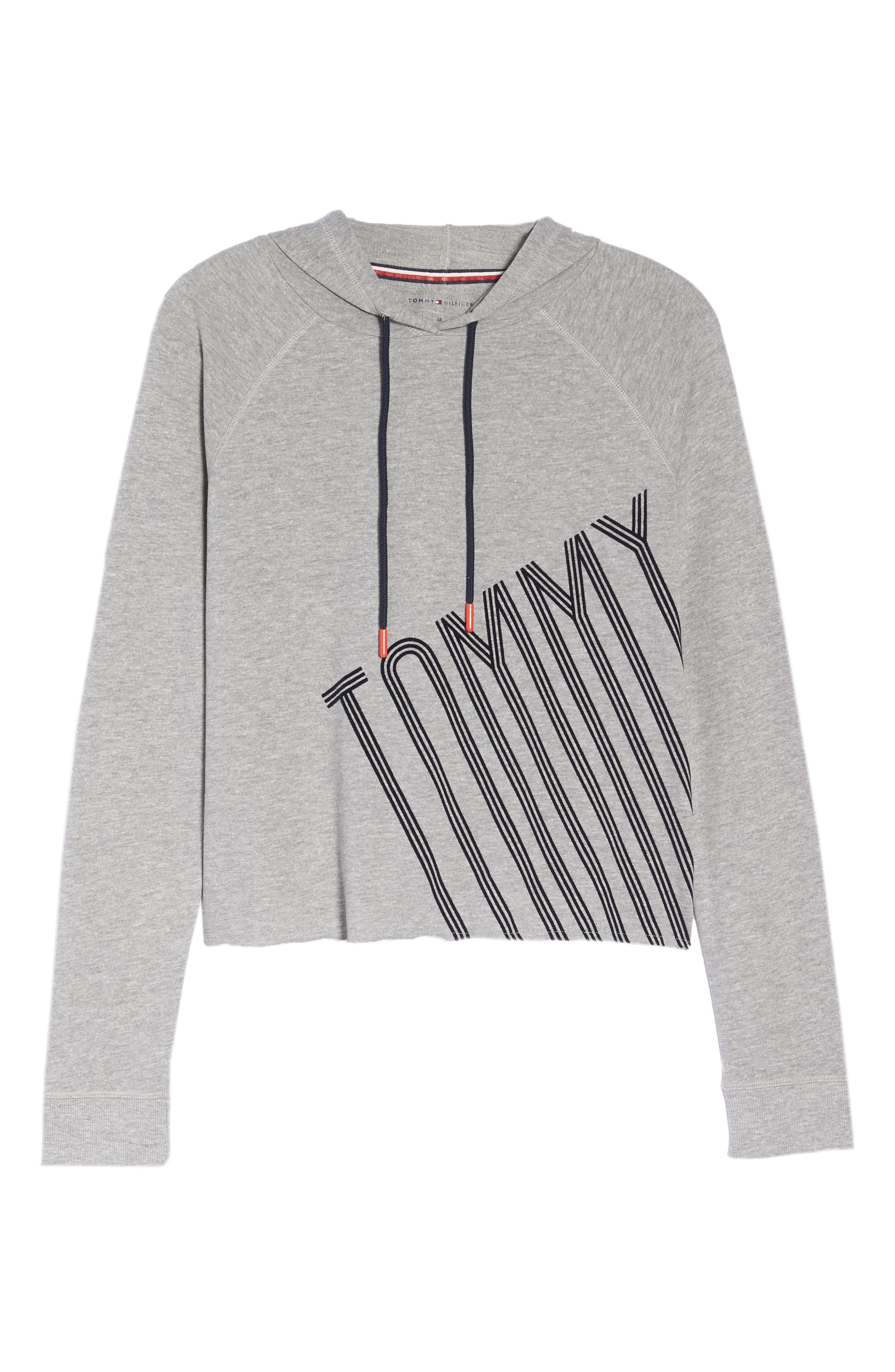 Cropped Lounge Hoodie,                             Alternate thumbnail 6, color,                             HEATHER GREY