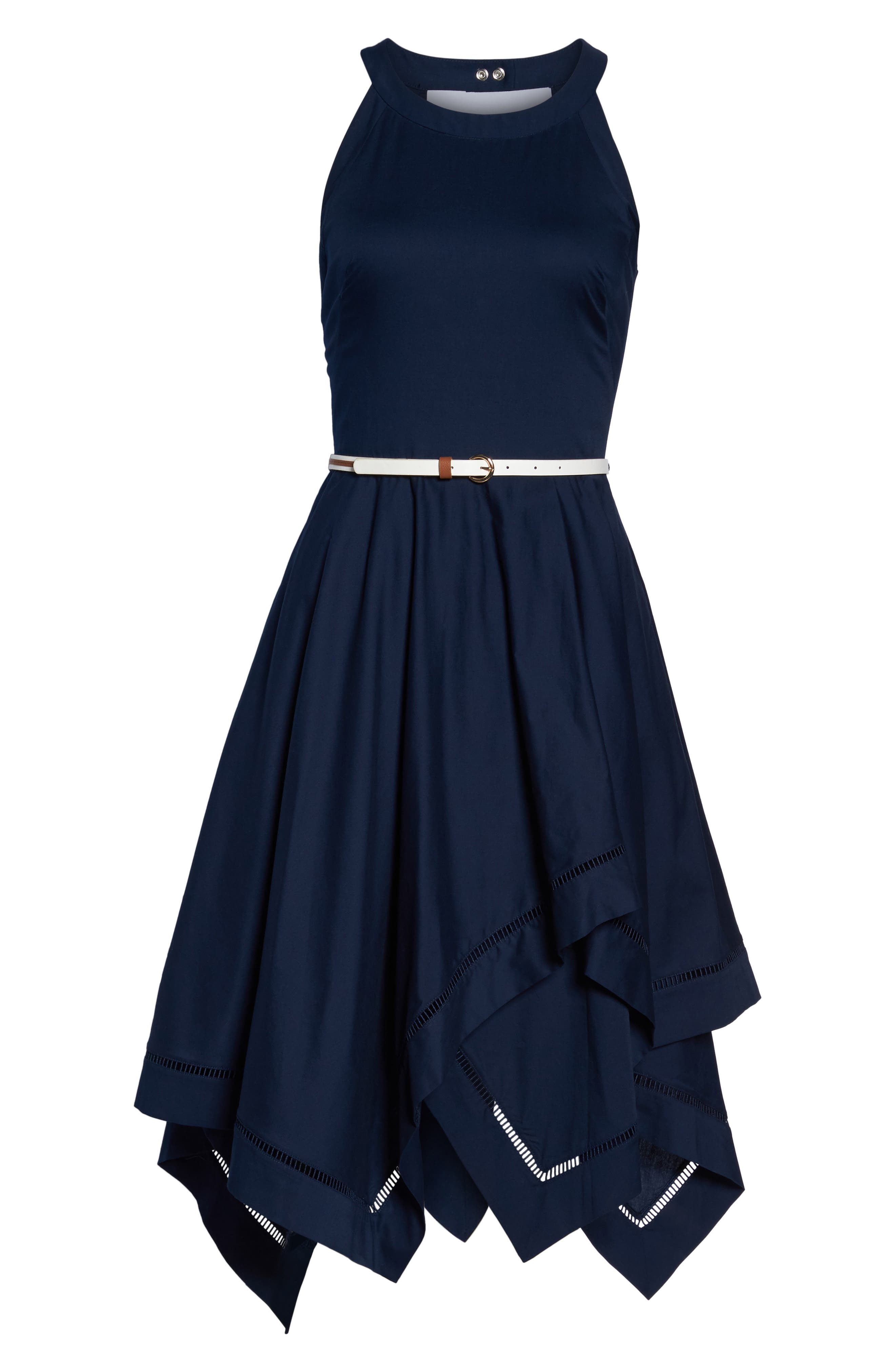 Handkerchief Hem Fit & Flare Dress,                             Alternate thumbnail 6, color,                             410