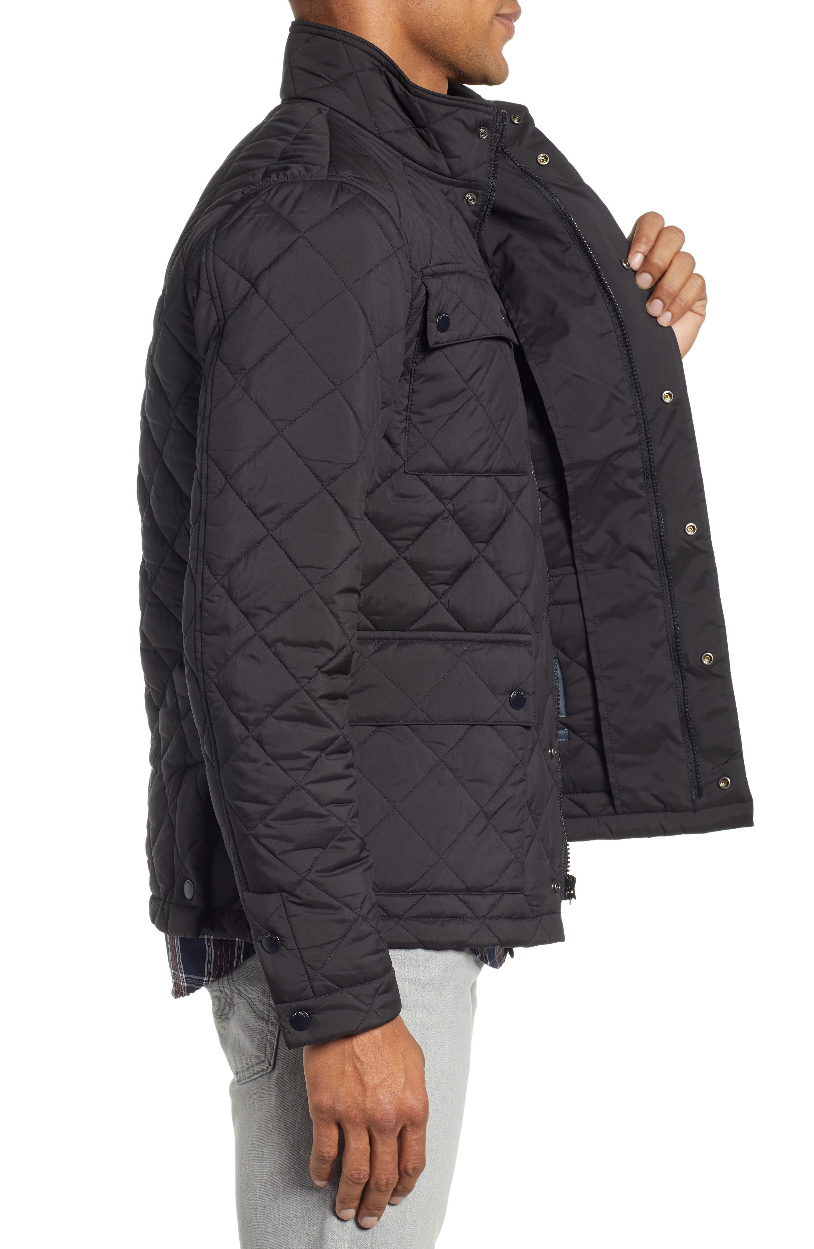 Banff Quilted Jacket,                             Alternate thumbnail 3, color,                             BLACK