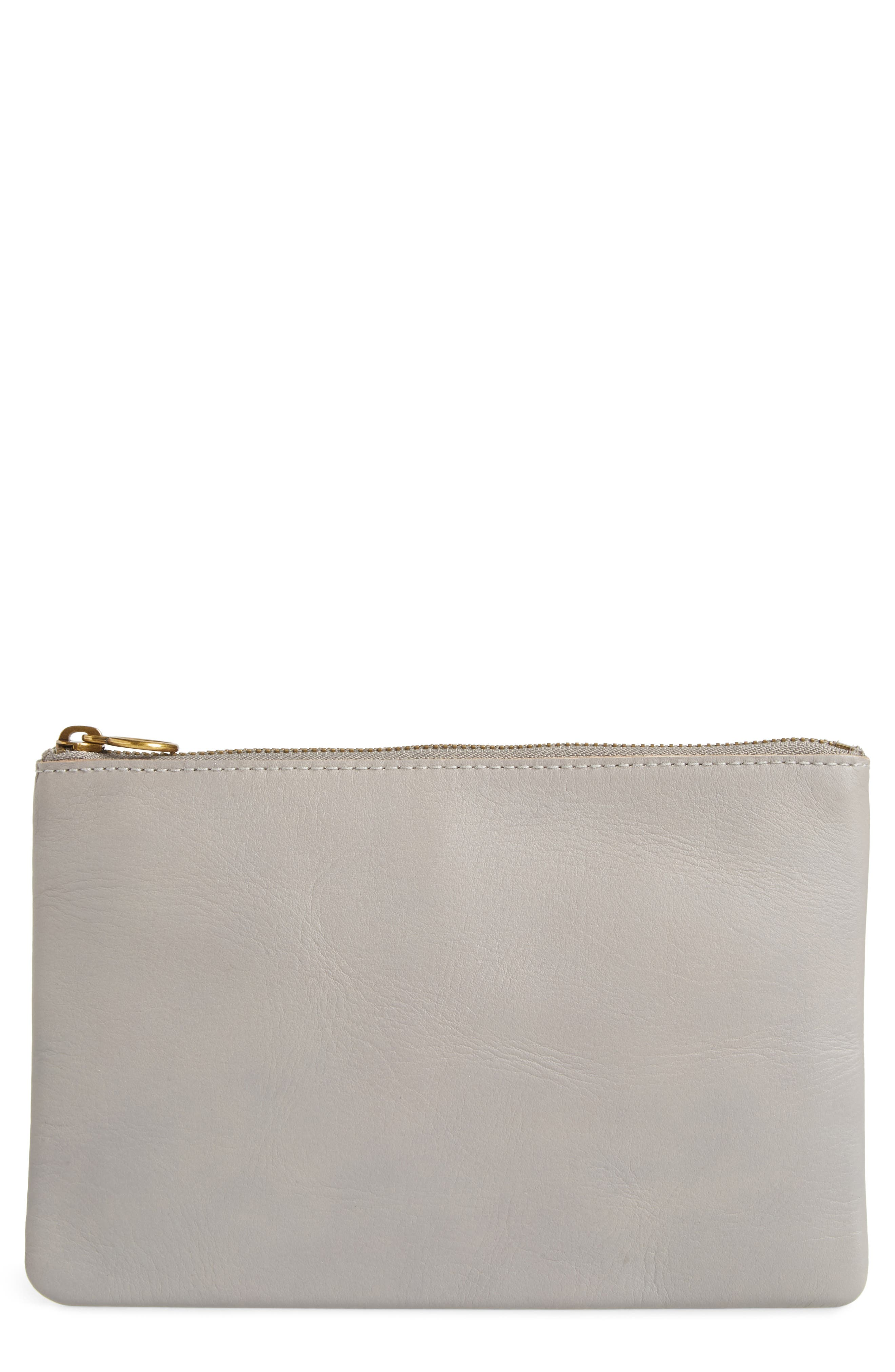 The Leather Pouch Clutch,                             Main thumbnail 1, color,                             STONEWALL