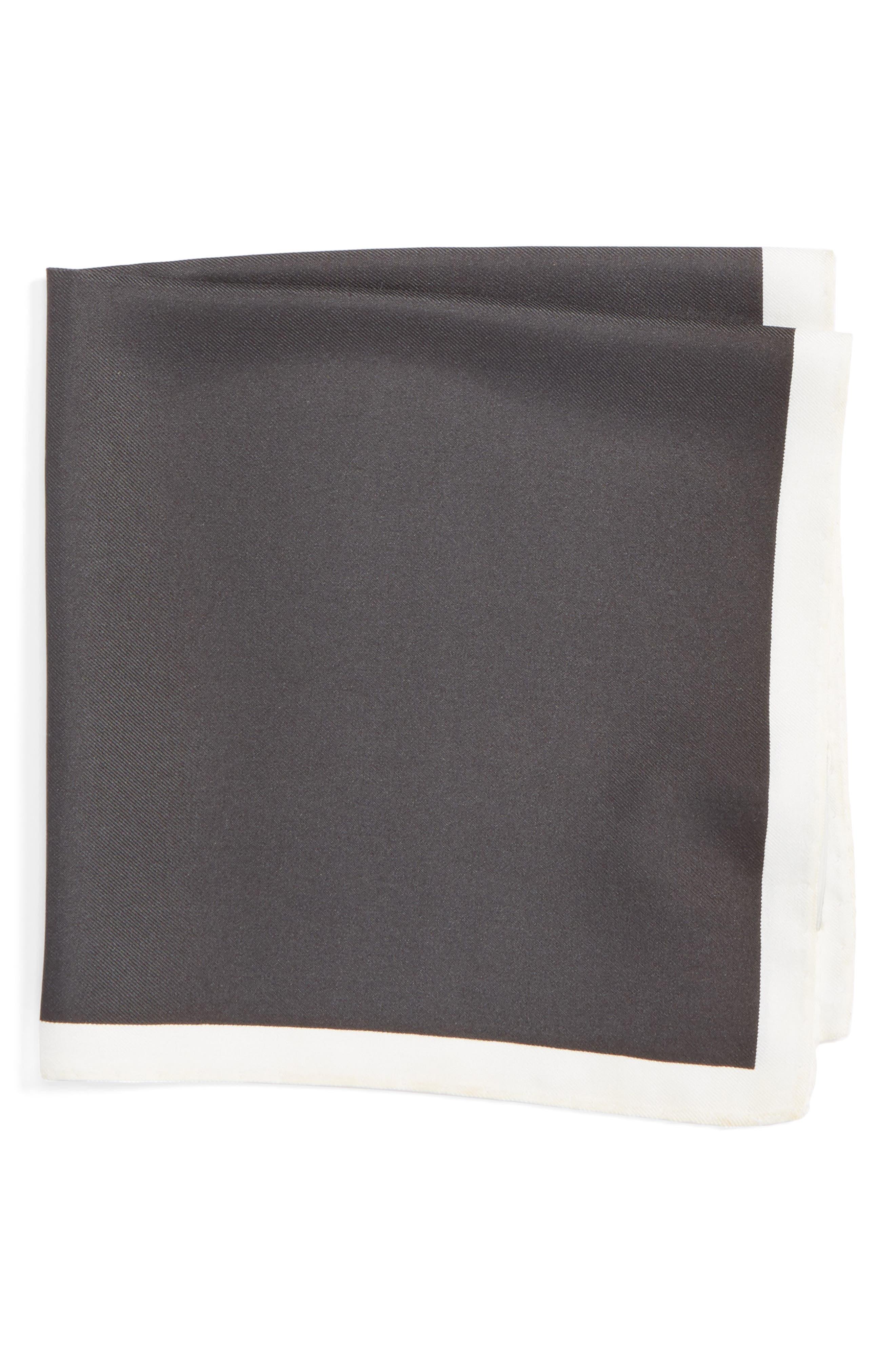 Silk Pocket Square,                             Main thumbnail 1, color,                             BLACK