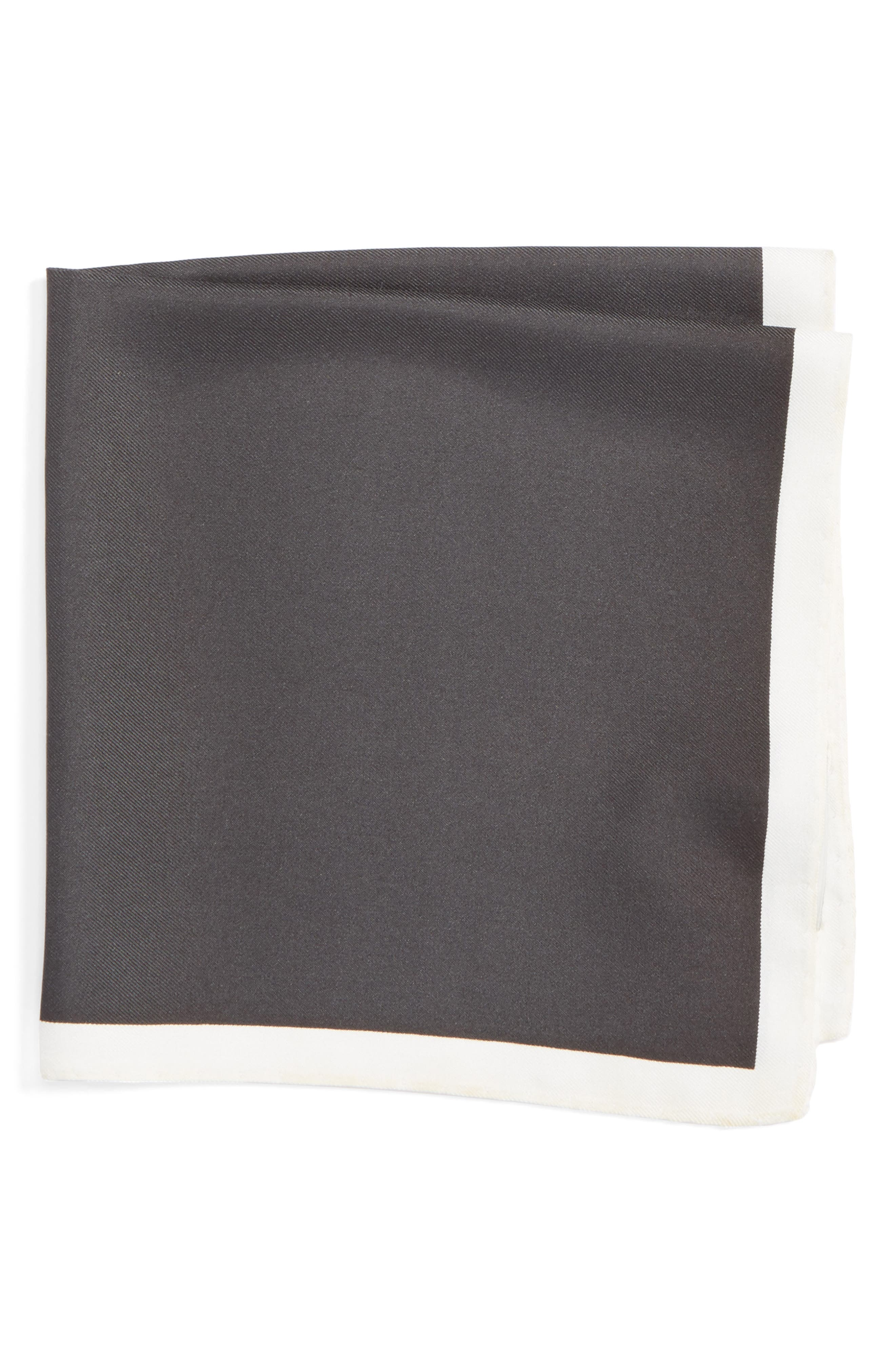 Silk Pocket Square,                         Main,                         color, BLACK