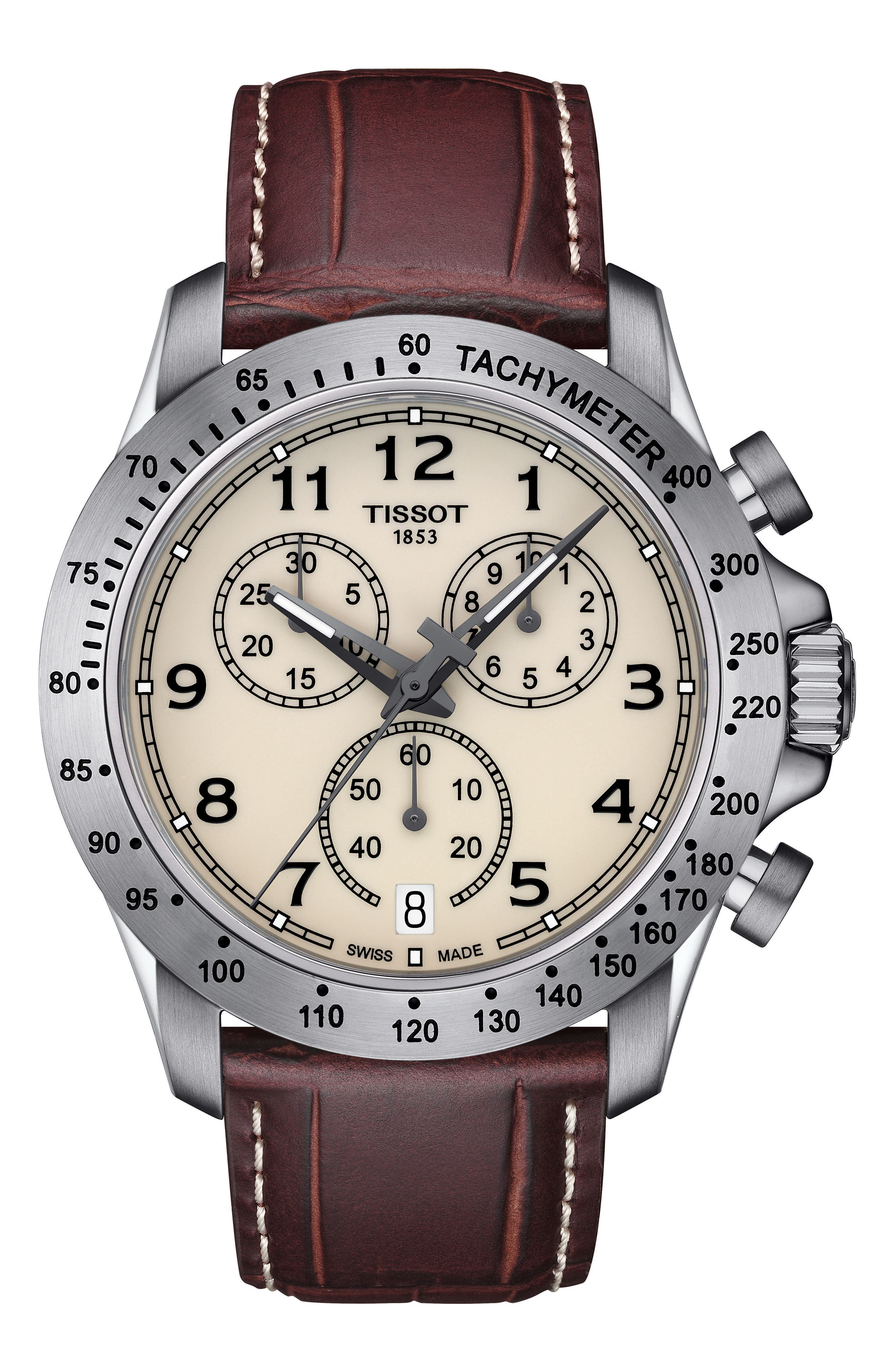 V8 Chronograph Leather Strap Watch, 43mm,                         Main,                         color, BROWN/ IVORY/ SILVER