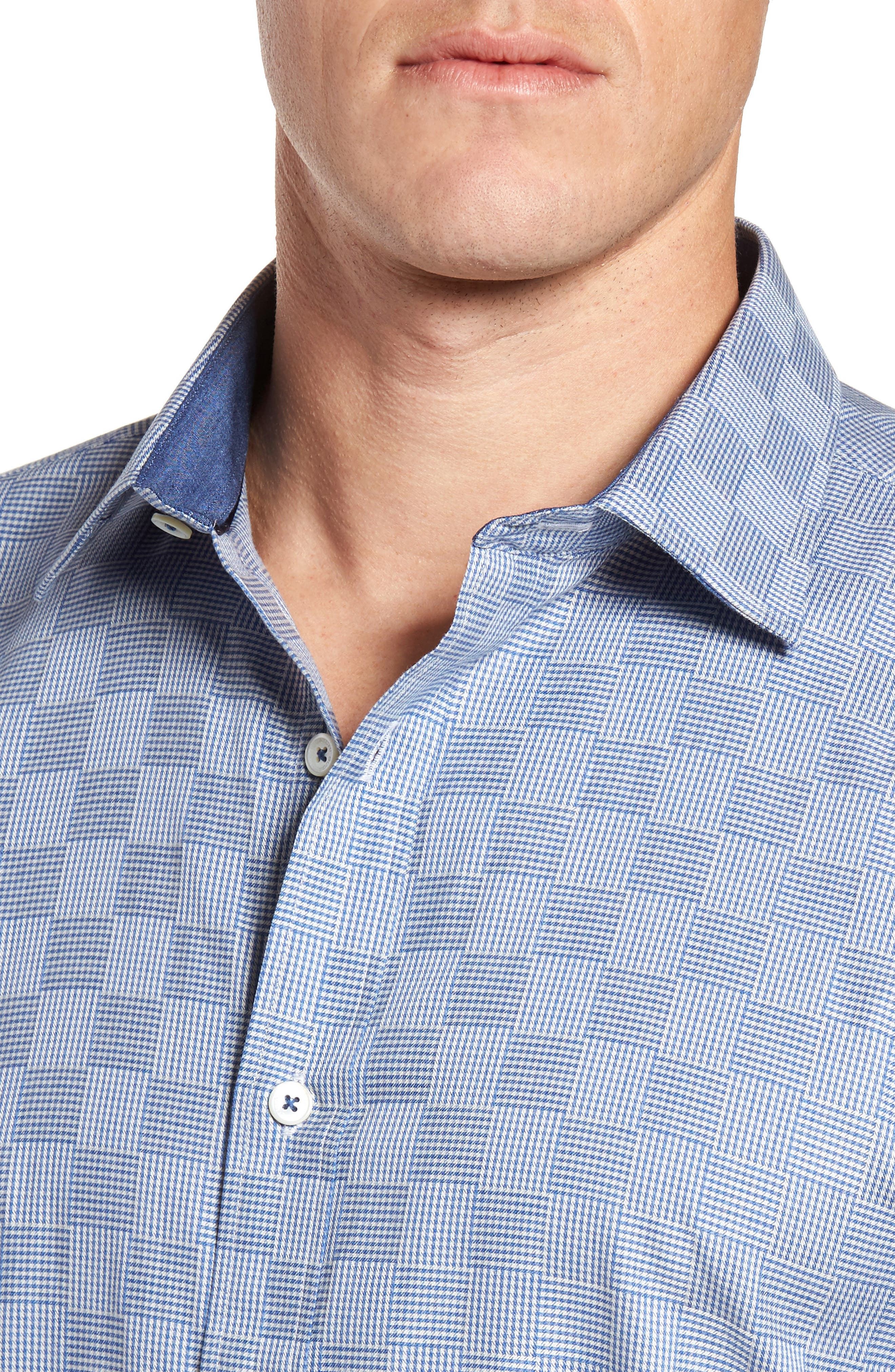 Shaped Fit Houndstooth Check Sport Shirt,                             Alternate thumbnail 4, color,                             420