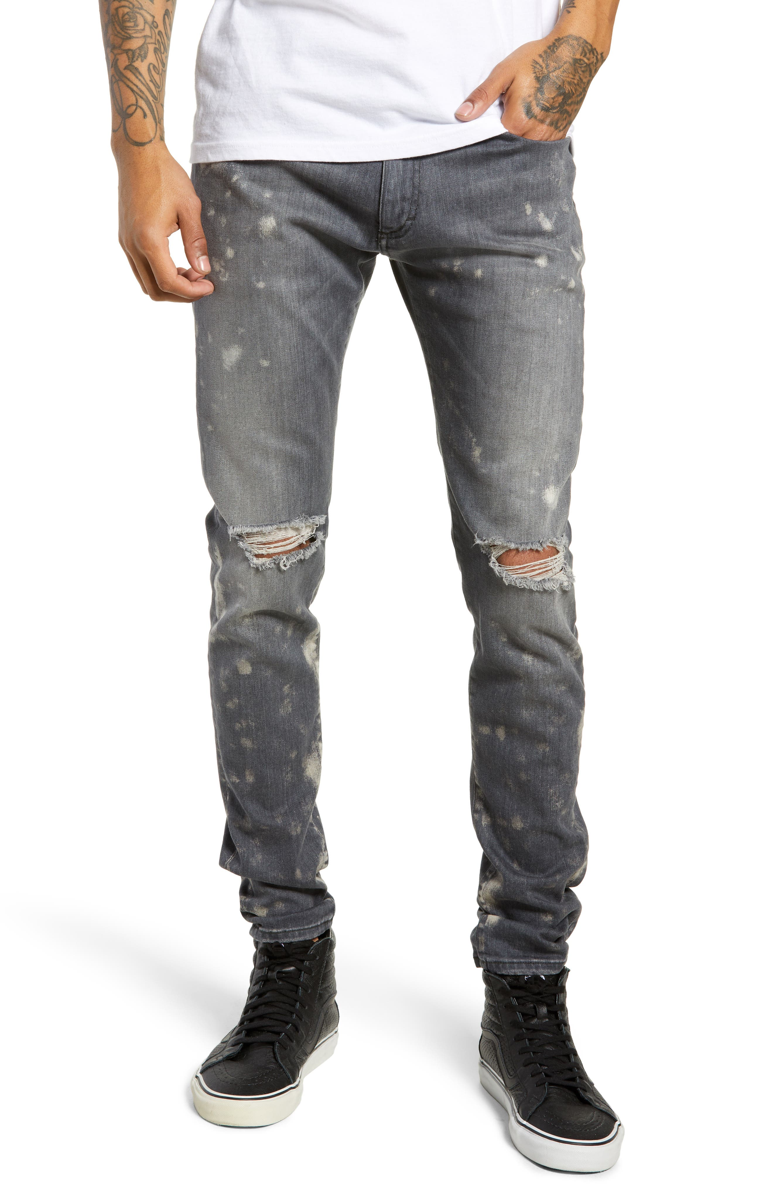 Destroyer Ripped Slim Fit Jeans, Main, color, GREY STONE