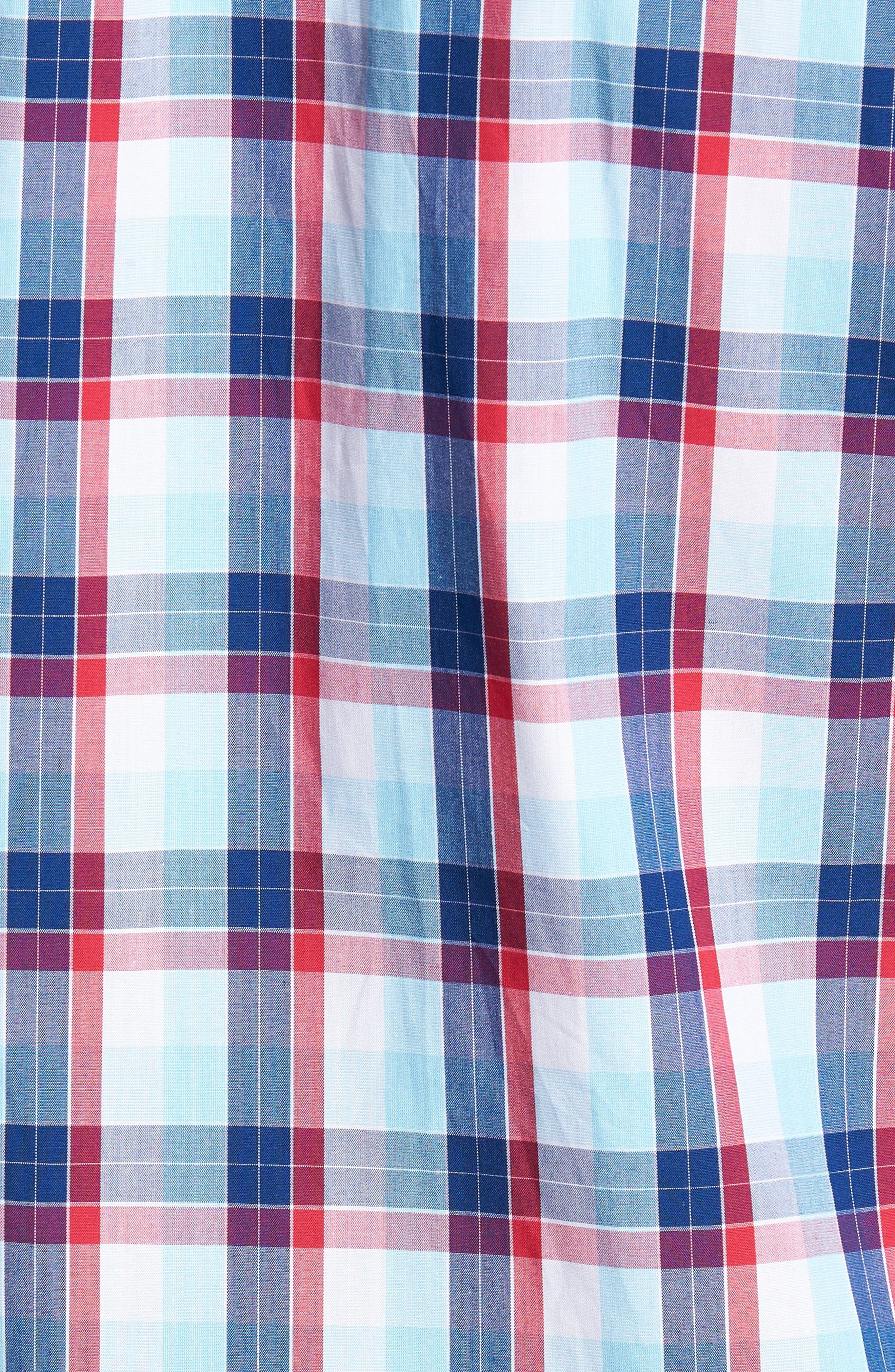 Zachary Non-Iron Plaid Sport Shirt,                             Alternate thumbnail 5, color,                             479