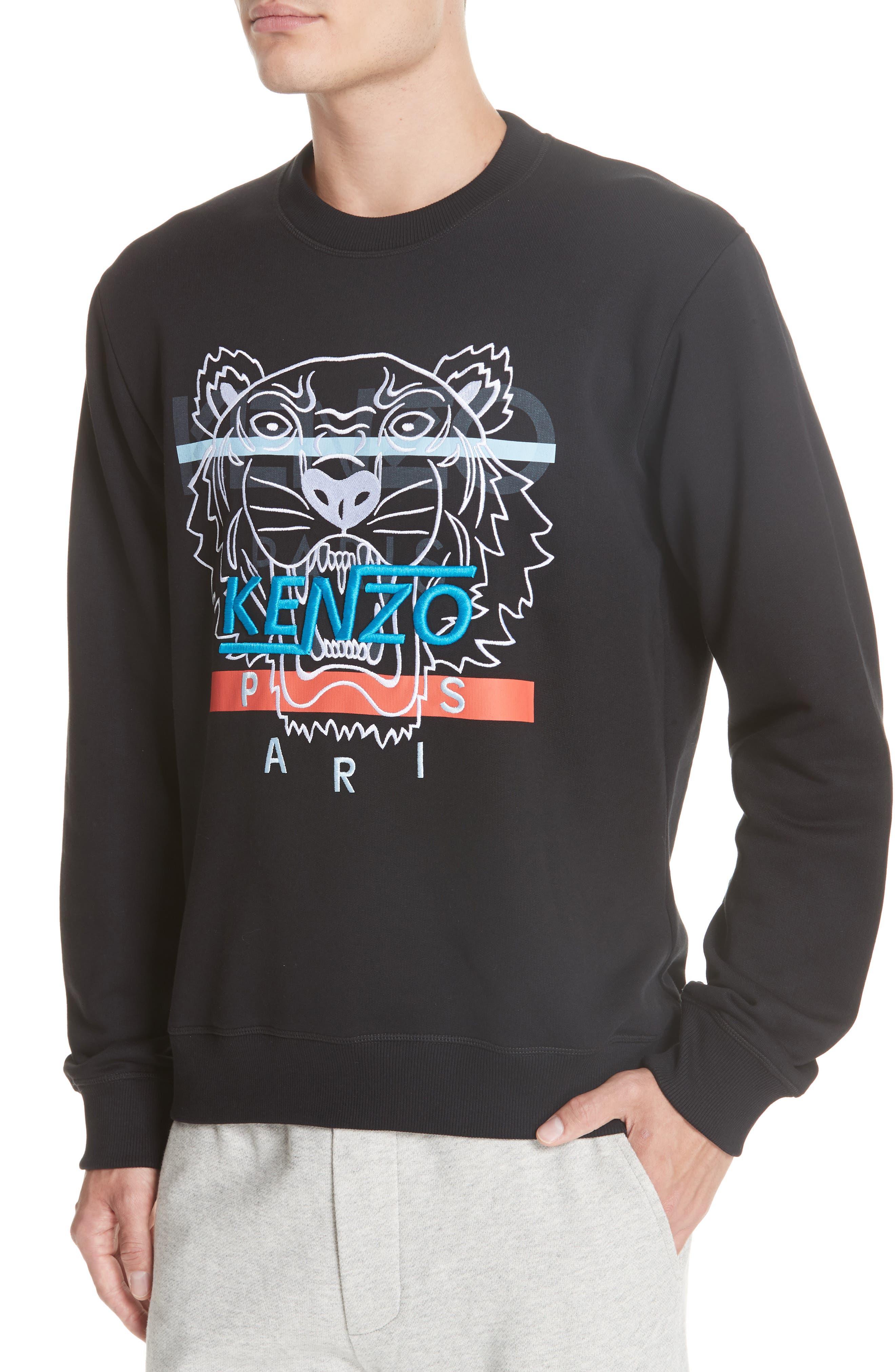 KENZO,                             Hyper Tiger Logo Sweatshirt,                             Alternate thumbnail 4, color,                             001