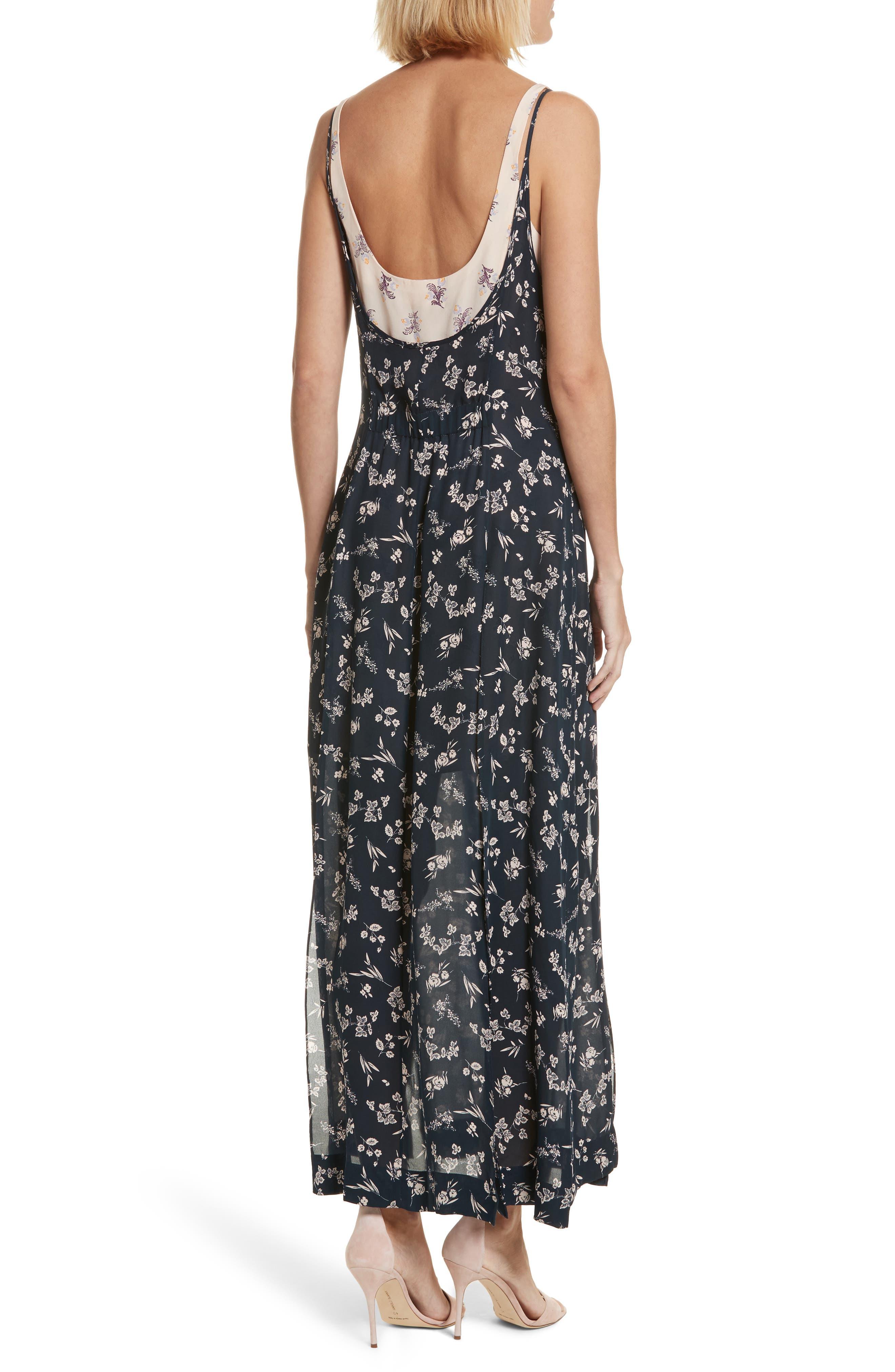 Jocelyn Floral Print Layered Silk Dress,                             Alternate thumbnail 2, color,                             499