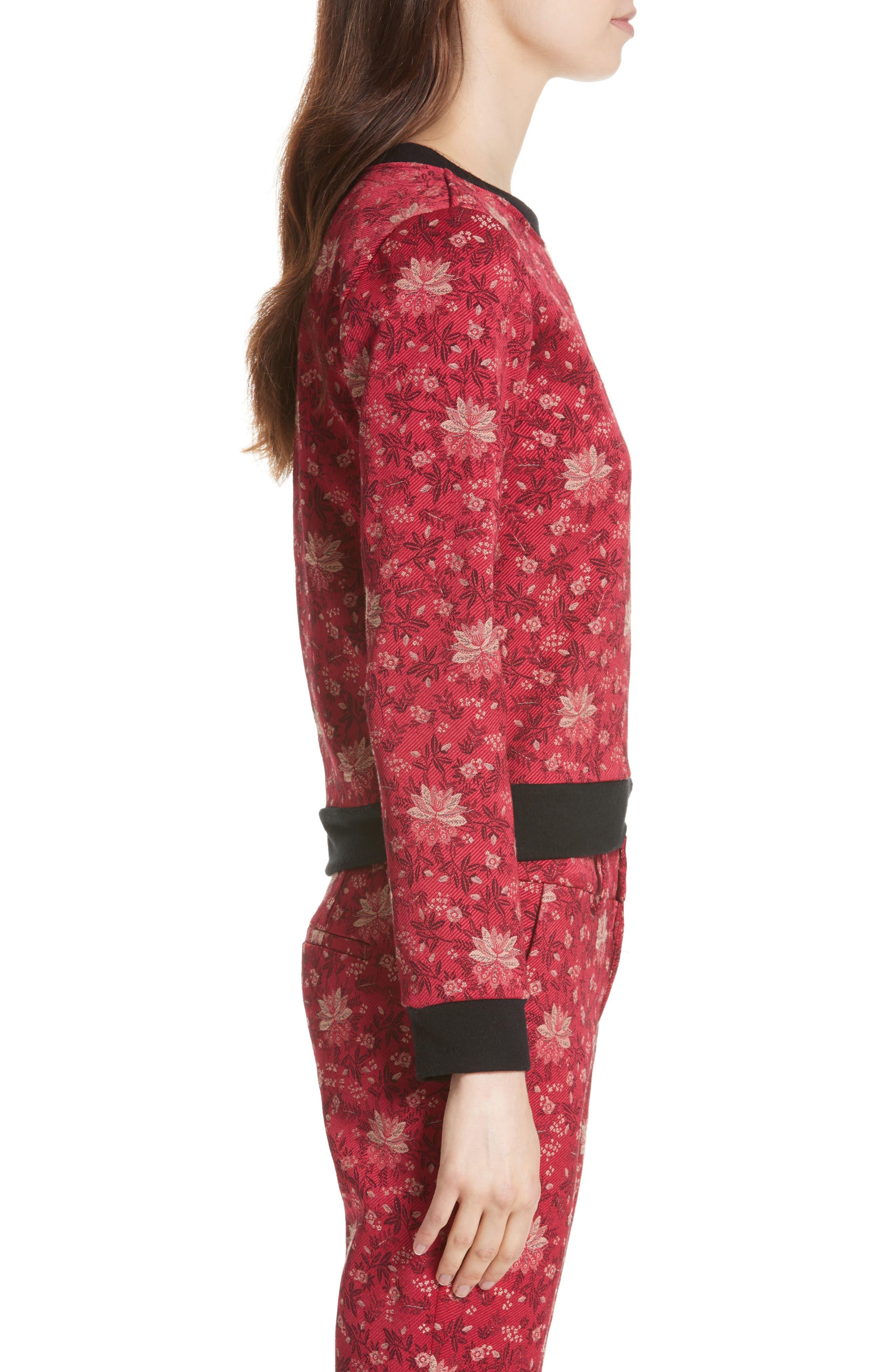 Marylou Floral Jacquard Sweatshirt,                             Alternate thumbnail 3, color,                             650