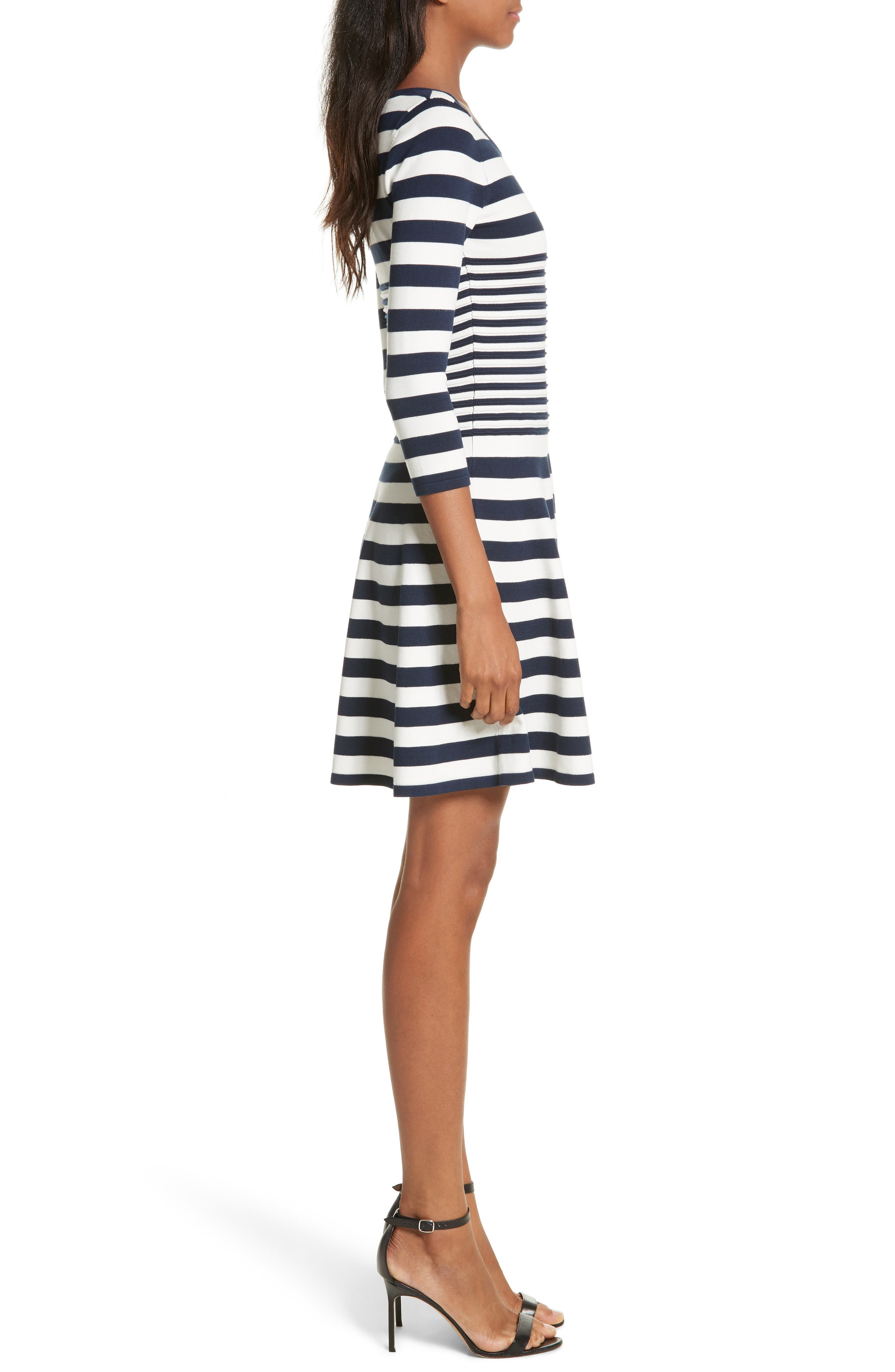 Striped Ottoman Fit & Flare Dress,                             Alternate thumbnail 3, color,                             155