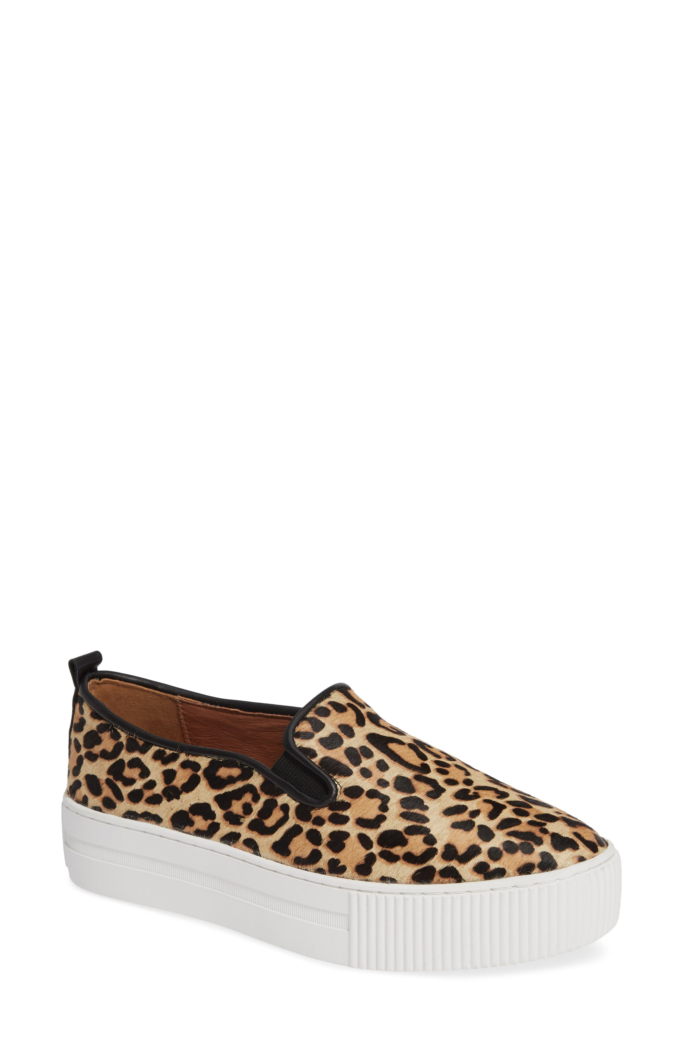 Baylee Platform Slip-On Sneaker,                             Main thumbnail 1, color,                             LEOPARD HAIRCALF