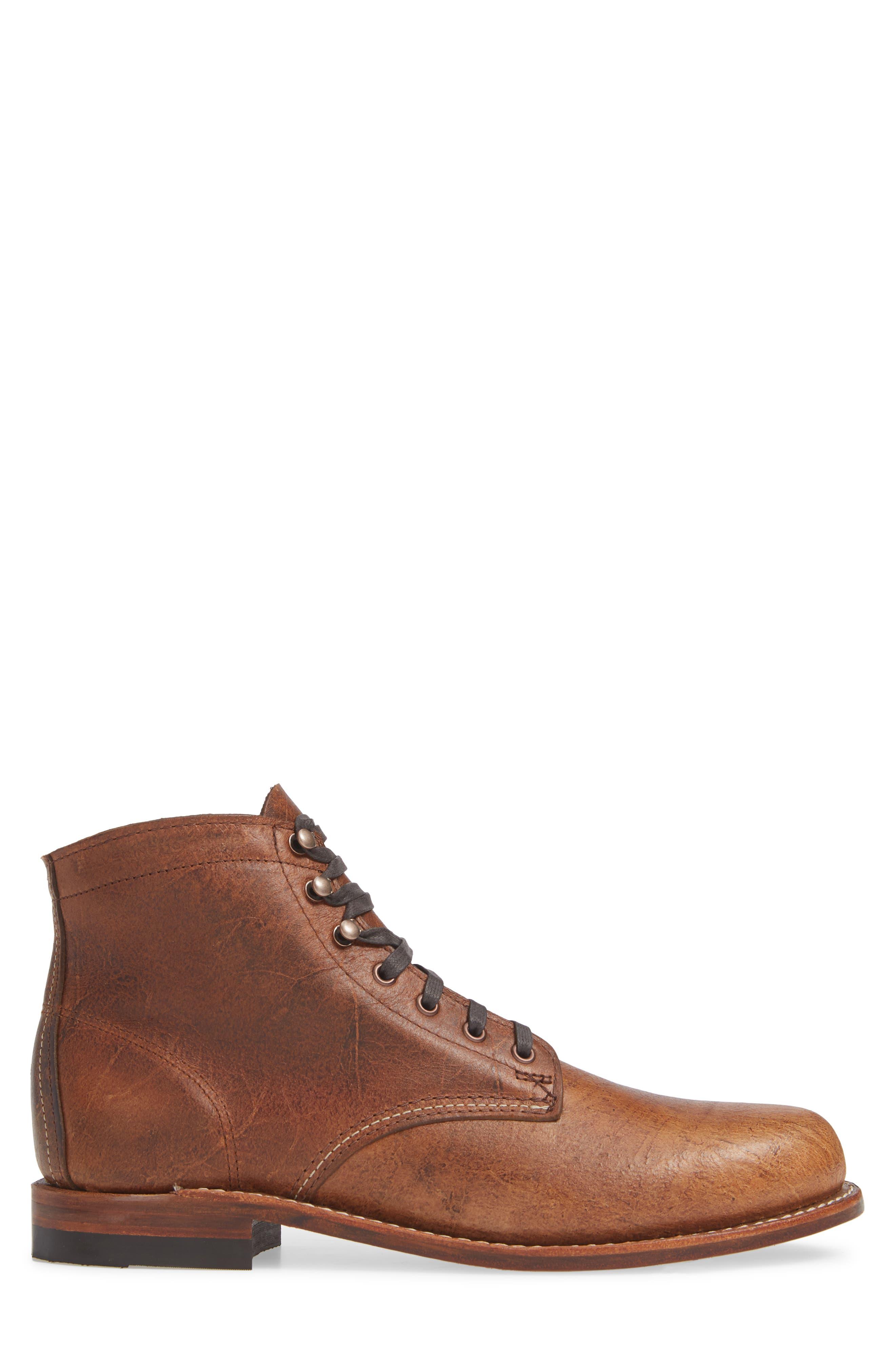 '1000 Mile' Plain Toe Boot,                             Alternate thumbnail 3, color,                             COGNAC