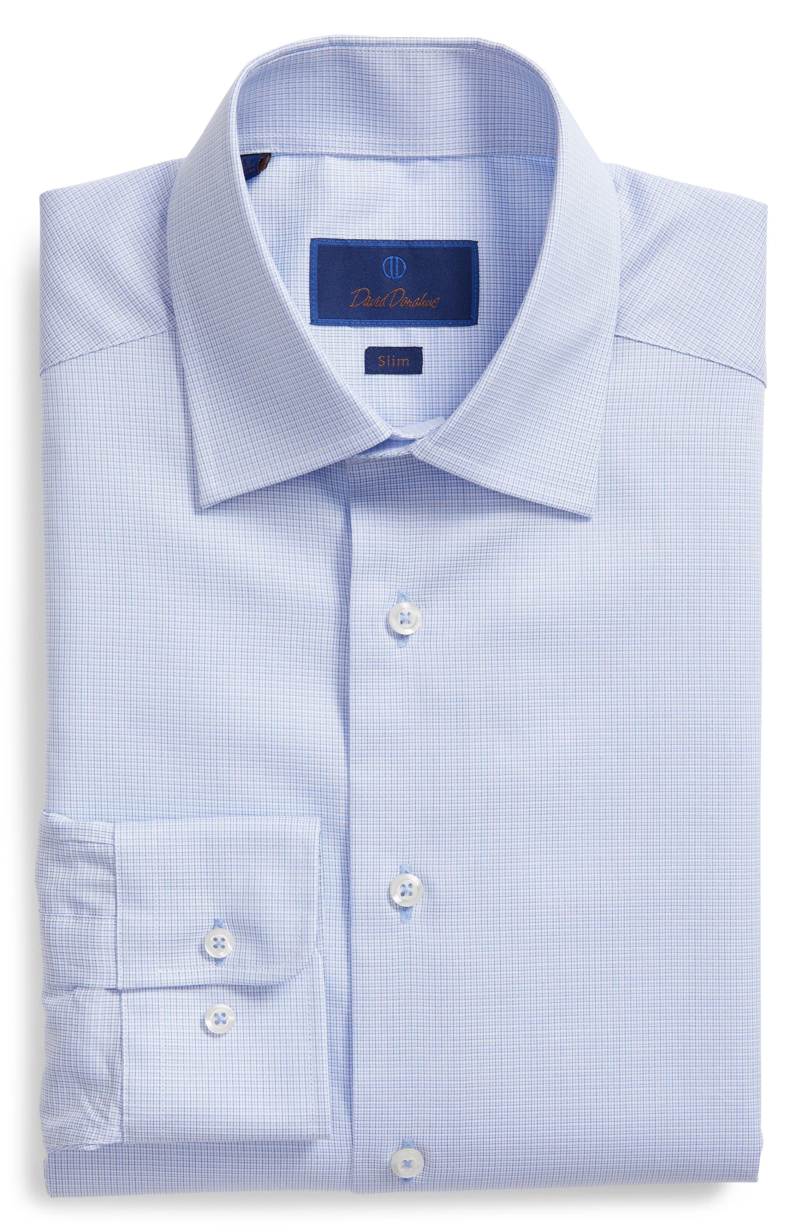 Slim Fit Micro Pattern Dress Shirt,                             Alternate thumbnail 5, color,                             BLUE