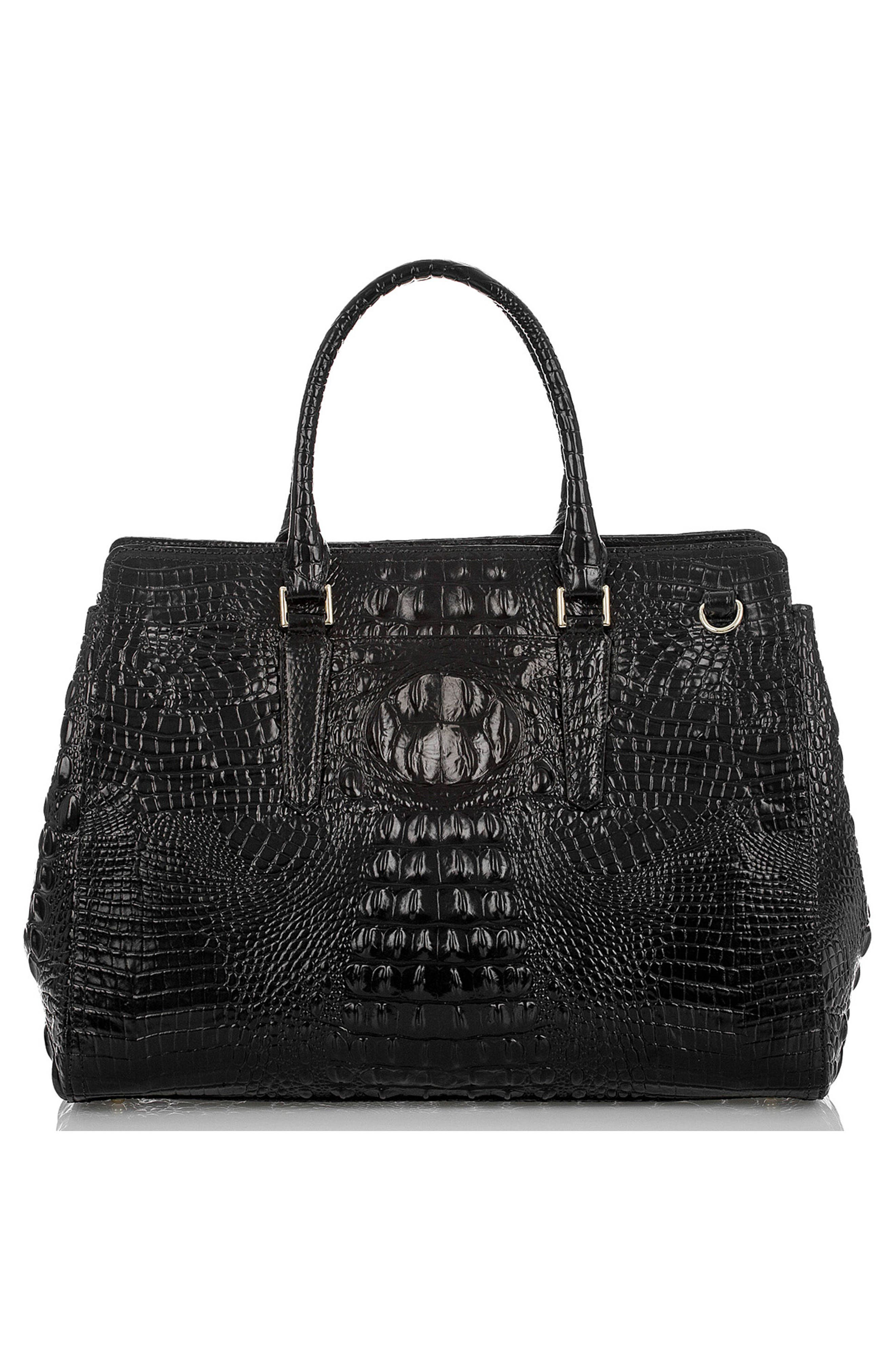 Finley Croc Embossed Leather Tote,                             Alternate thumbnail 3, color,                             001