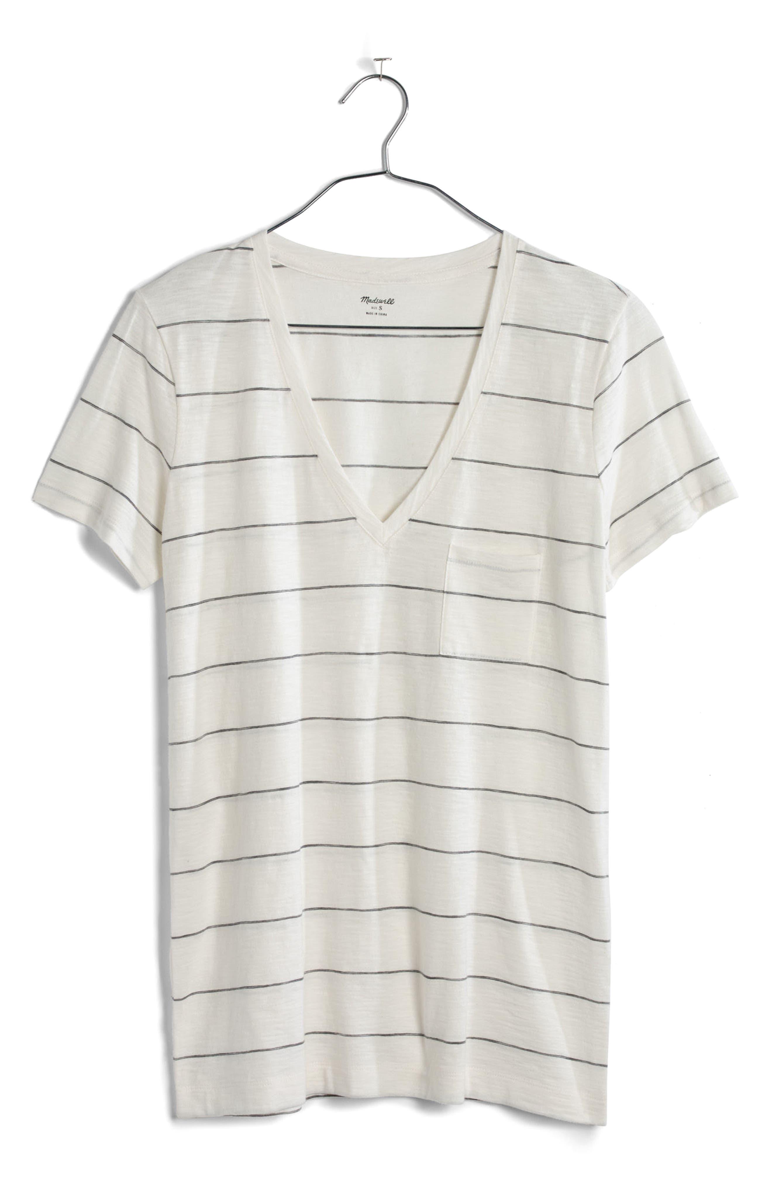 Whisper Cotton Stripe V-Neck Tee,                             Alternate thumbnail 3, color,                             150