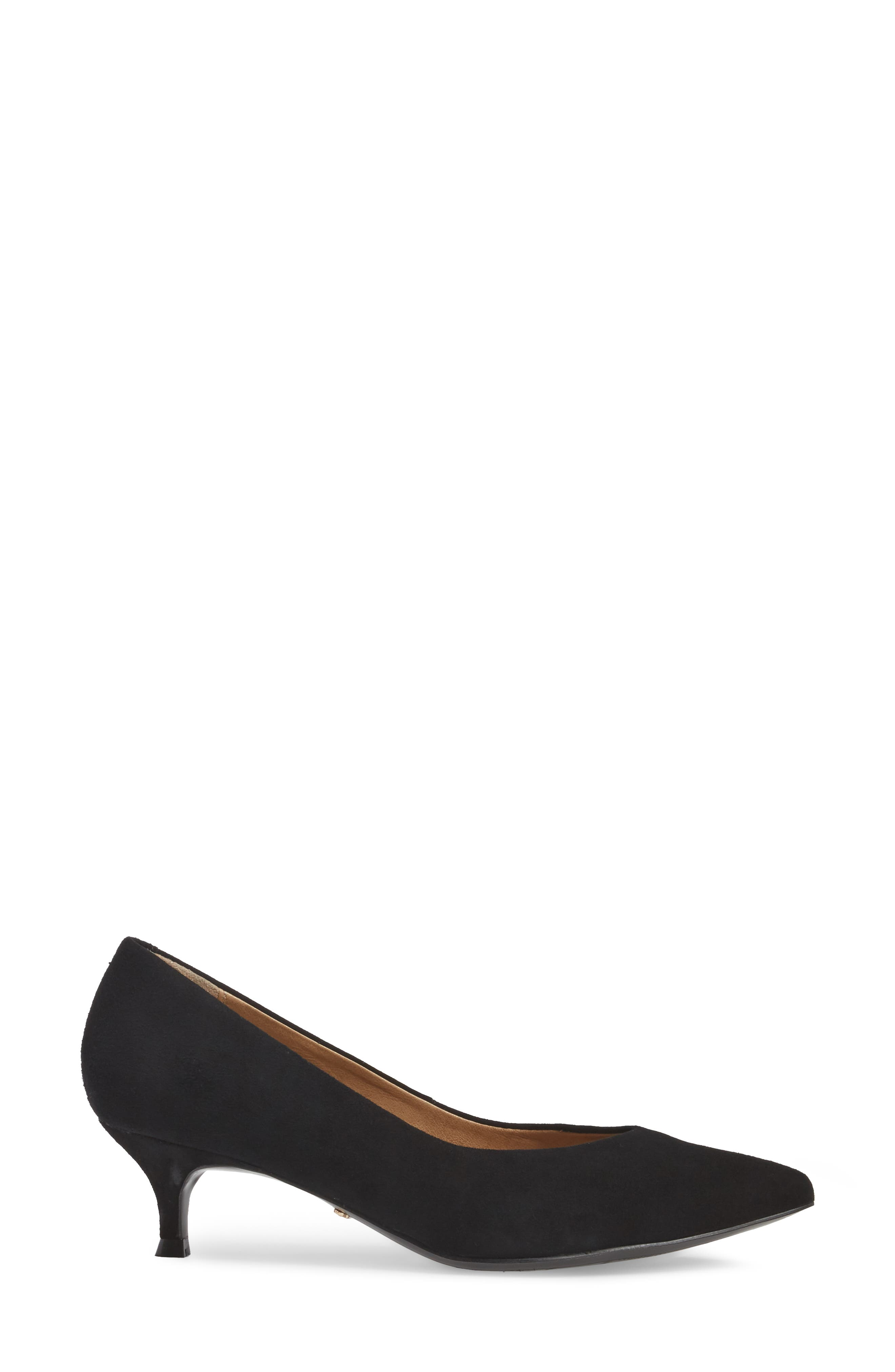 Josie Kitten Heel Pump,                             Alternate thumbnail 3, color,                             BLACK SUEDE