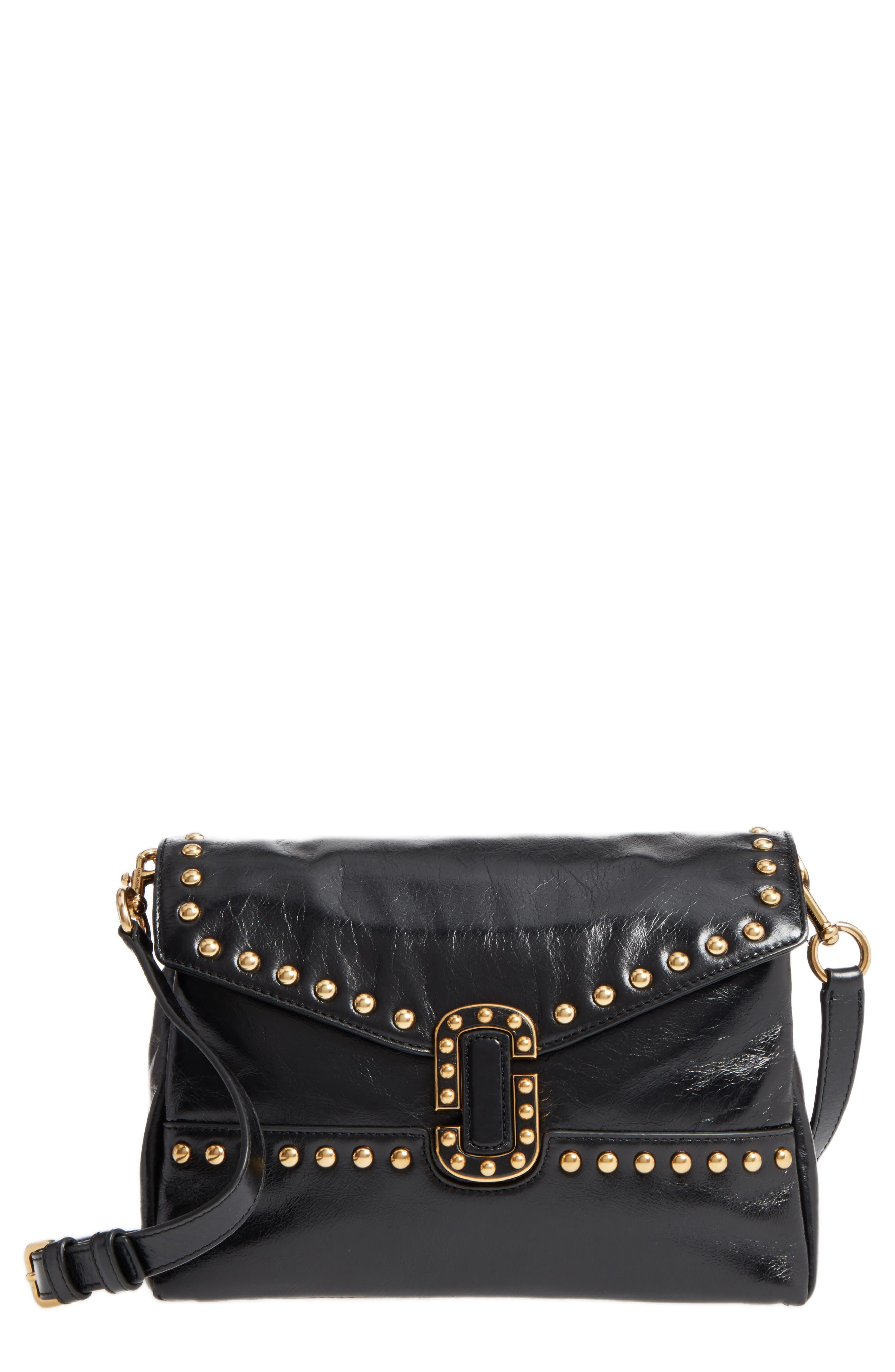 Small Studded Leather Envelope Bag,                             Main thumbnail 1, color,                             001