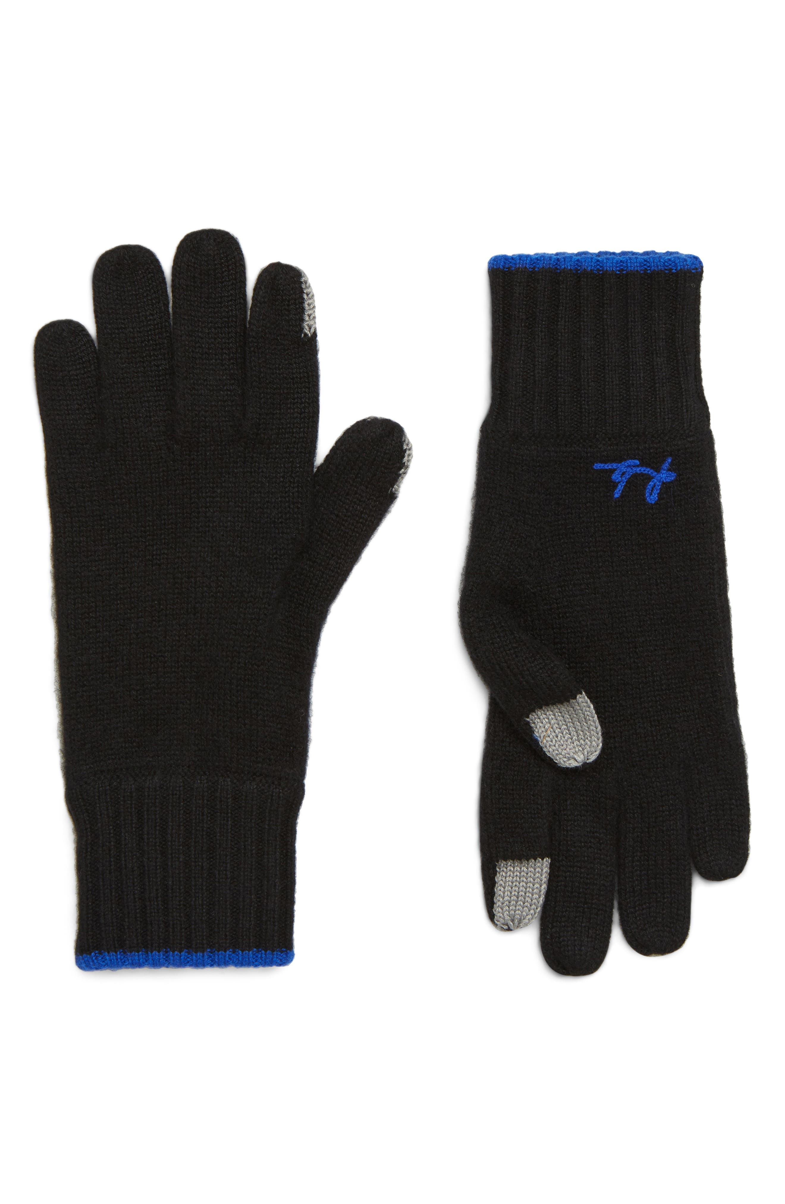 Yorke Cashmere Gloves,                             Main thumbnail 1, color,                             BLACK