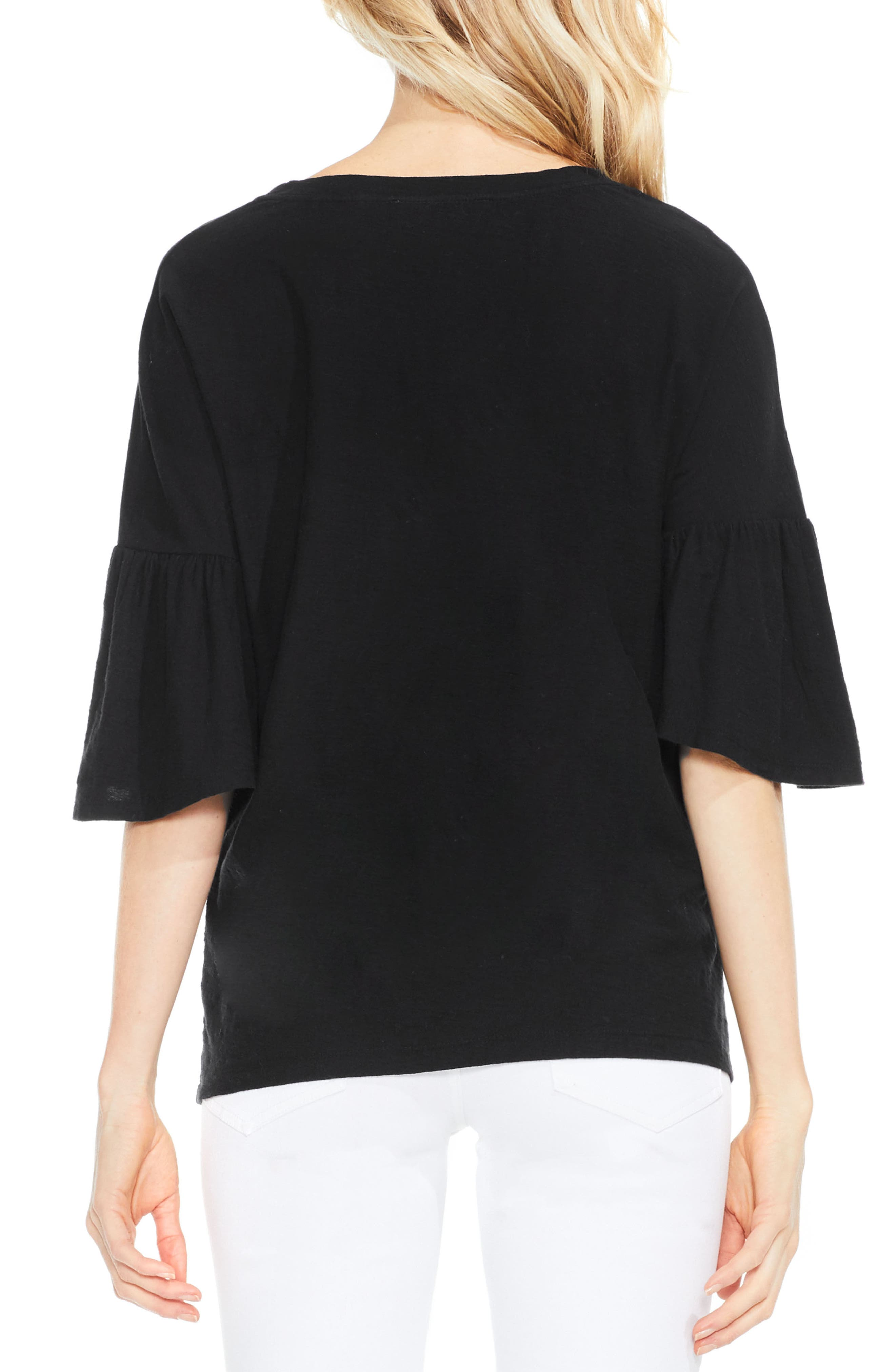 Relaxed Bell Sleeve Cotton Tee,                             Alternate thumbnail 2, color,                             006