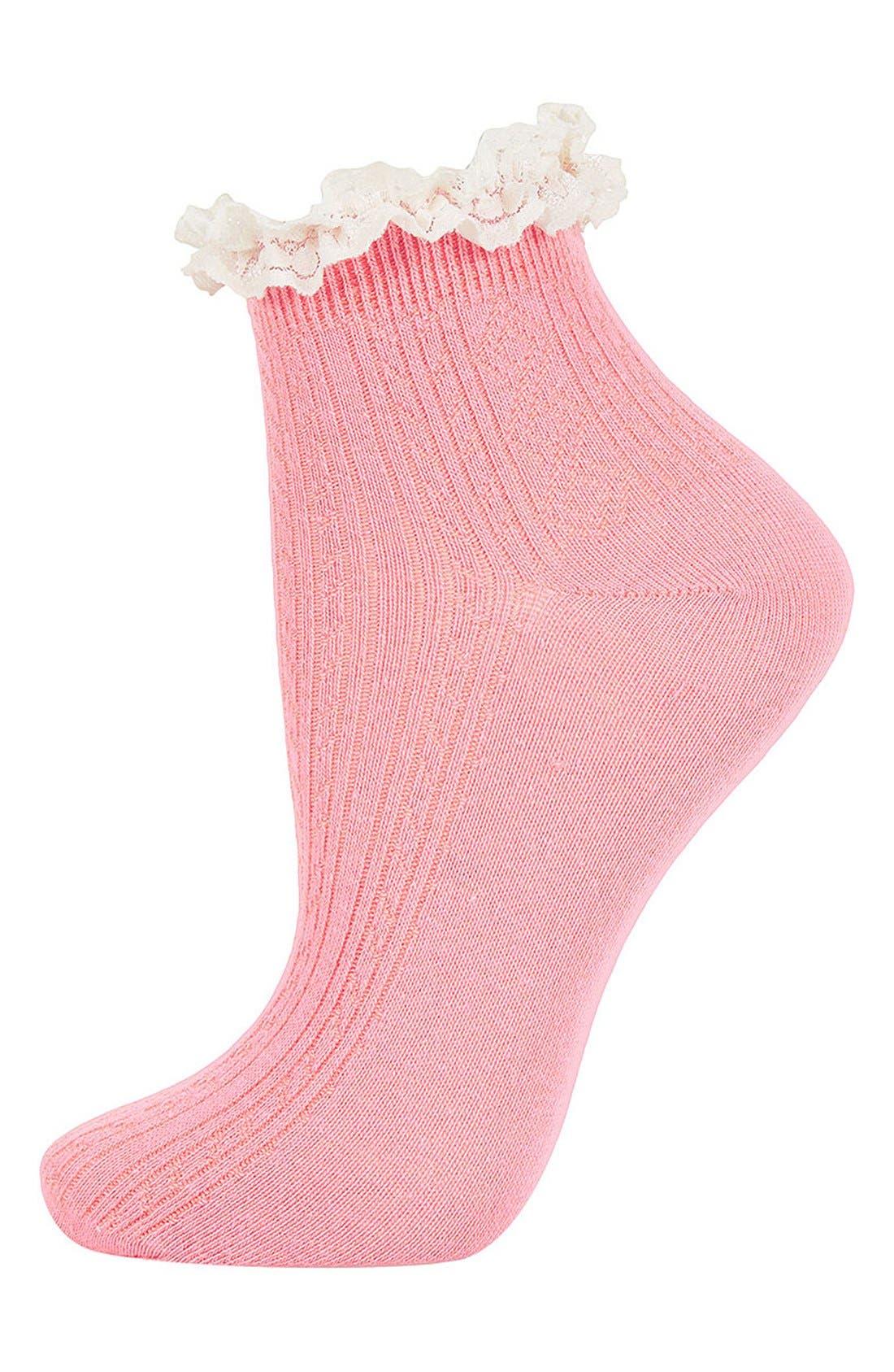 Lace Trim Ankle Socks,                             Main thumbnail 24, color,