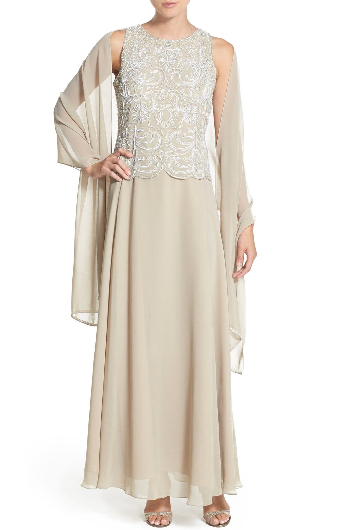 J KARA,                             Embellished Chiffon A-Line Gown with Shawl,                             Alternate thumbnail 5, color,                             250