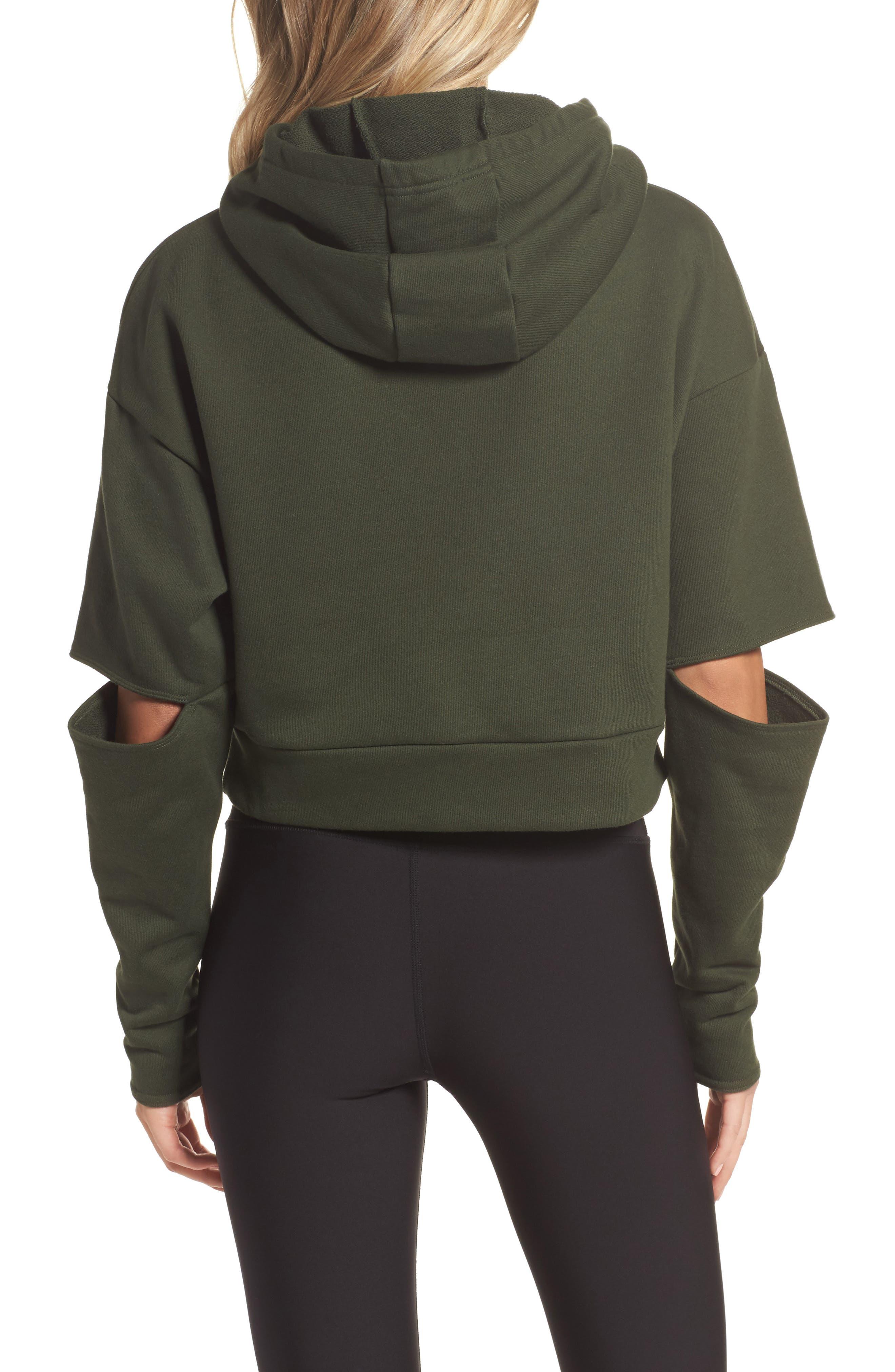 Peak Cutout Long Sleeve Pullover Crop Hoodie,                             Alternate thumbnail 7, color,