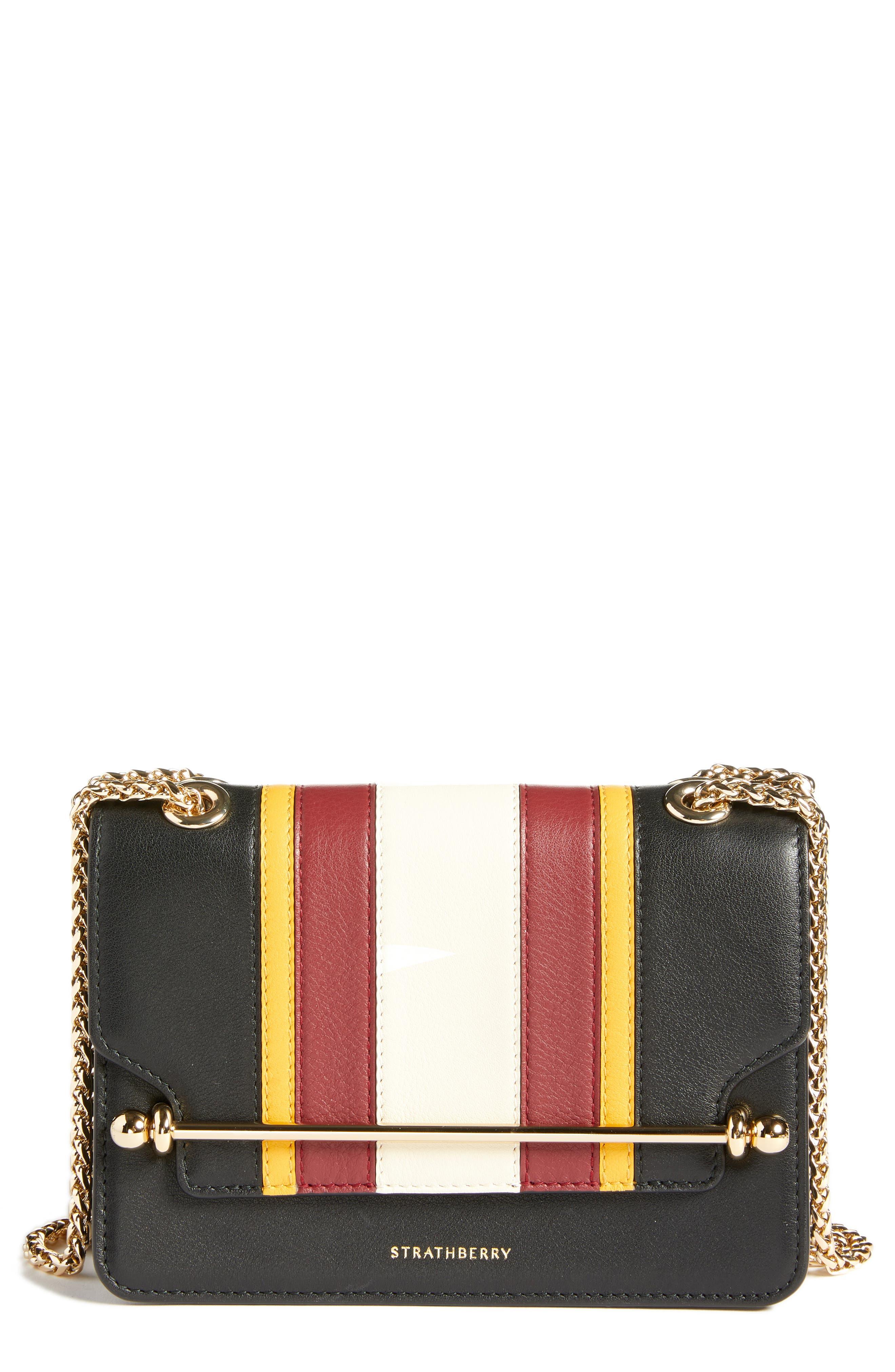 Mini East/West Stripe Leather Crossbody Bag,                             Main thumbnail 1, color,                             BLACK