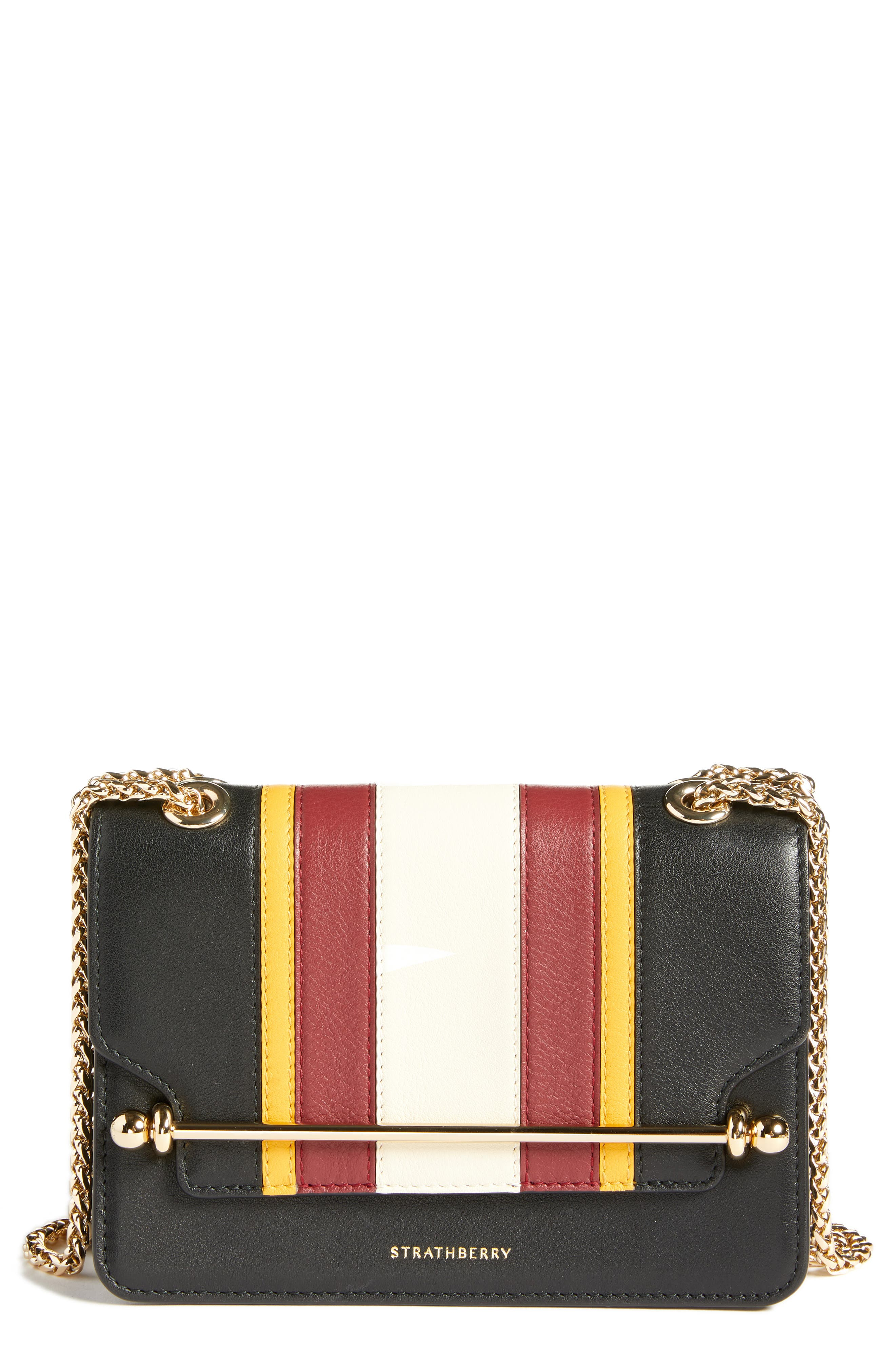 Mini East/West Stripe Leather Crossbody Bag,                         Main,                         color, BLACK