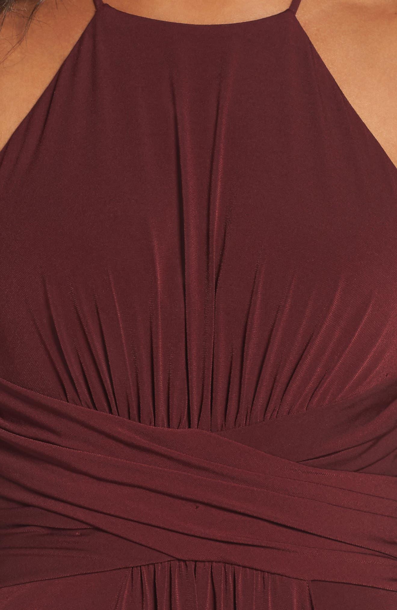 Jones Ruched Halter Gown,                             Alternate thumbnail 8, color,
