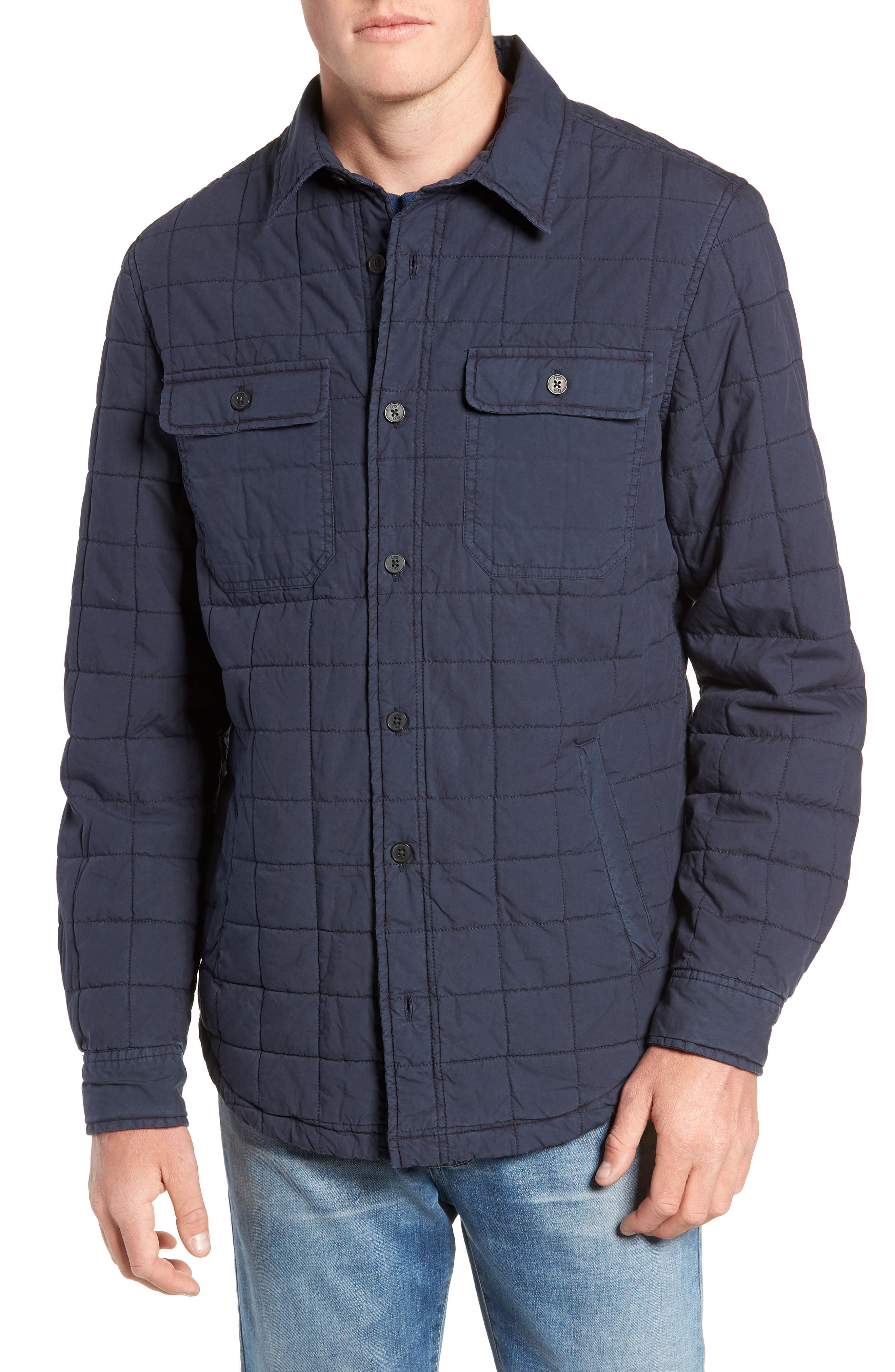 Quilted Shirt Jacket,                             Alternate thumbnail 4, color,                             NAVY