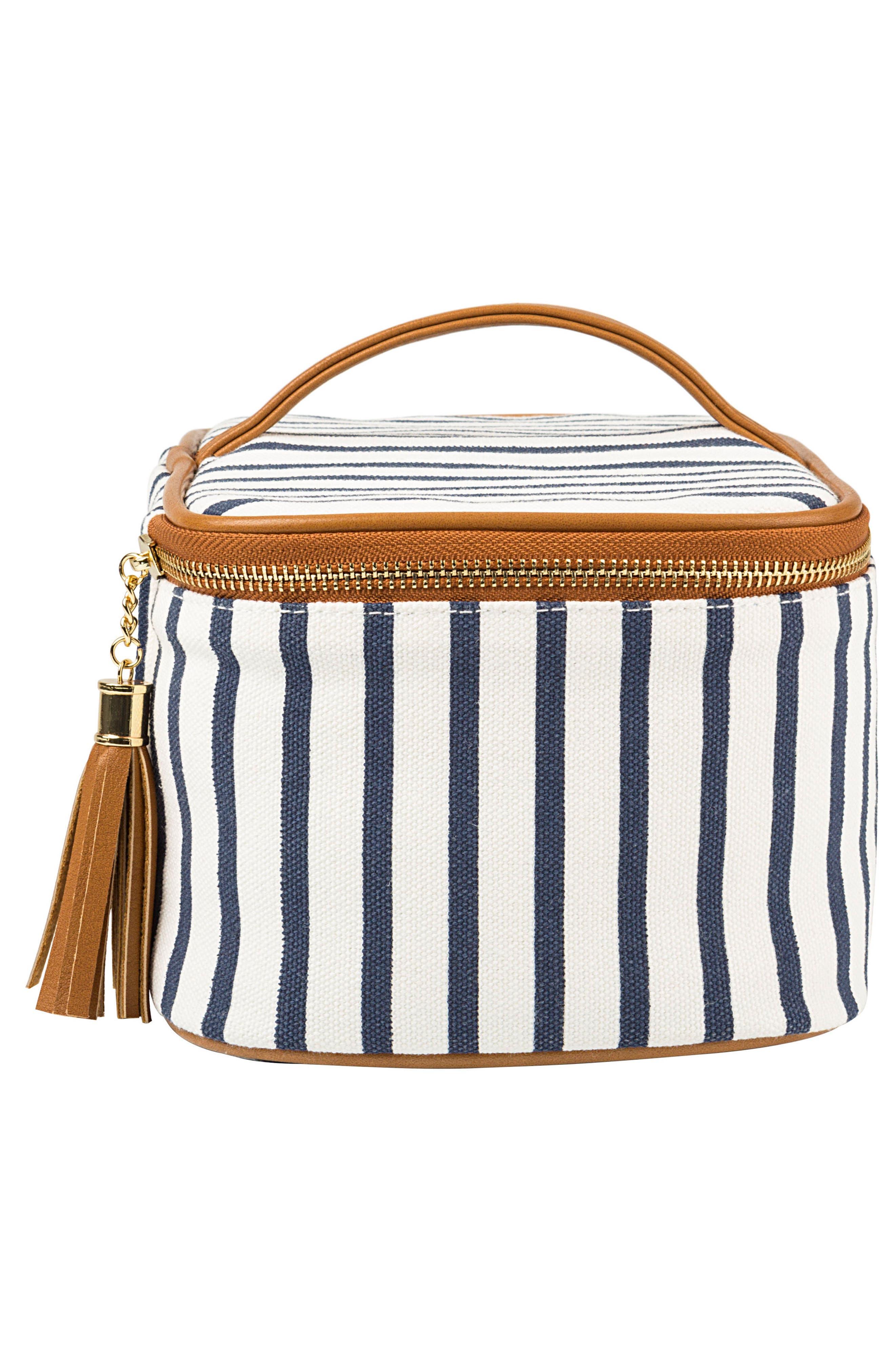 Monogram Stripe Canvas Cosmetics Case,                             Alternate thumbnail 4, color,                             BLUE