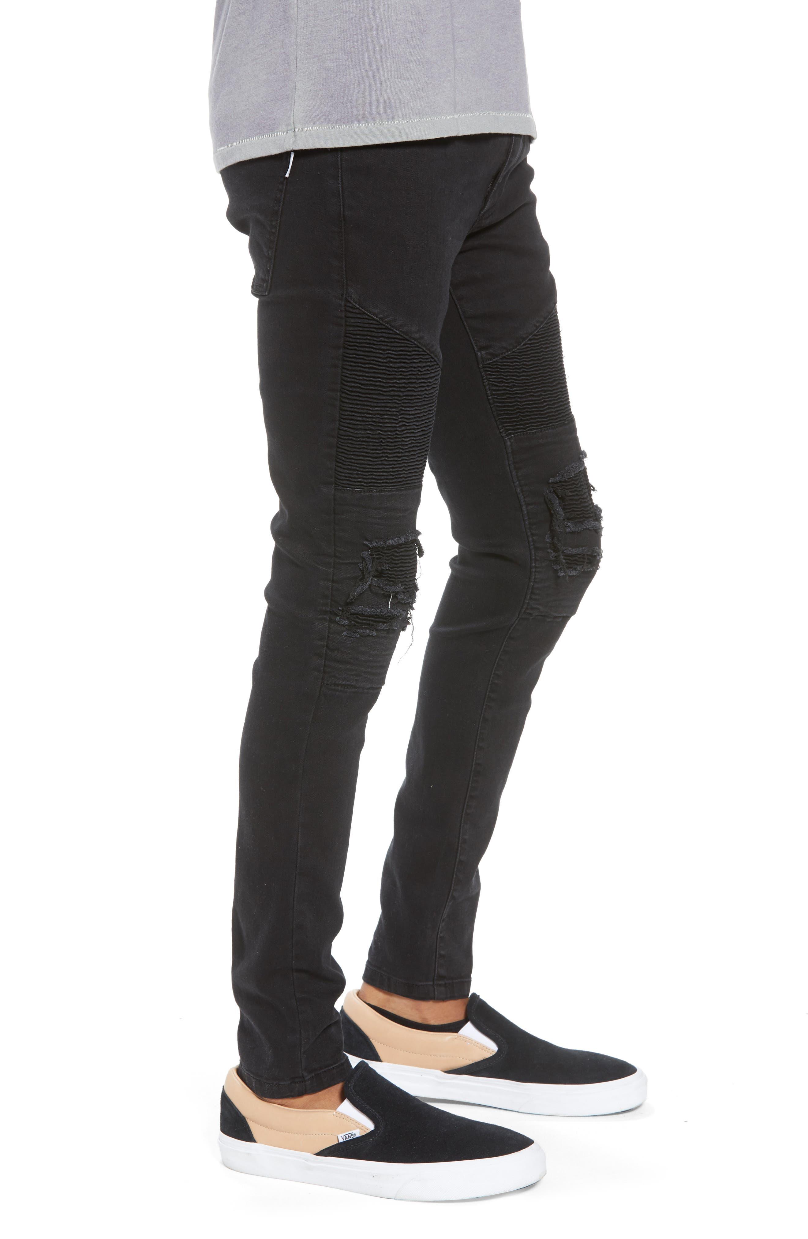 Combination Moto Skinny Moto Jeans,                             Alternate thumbnail 3, color,                             BLACK