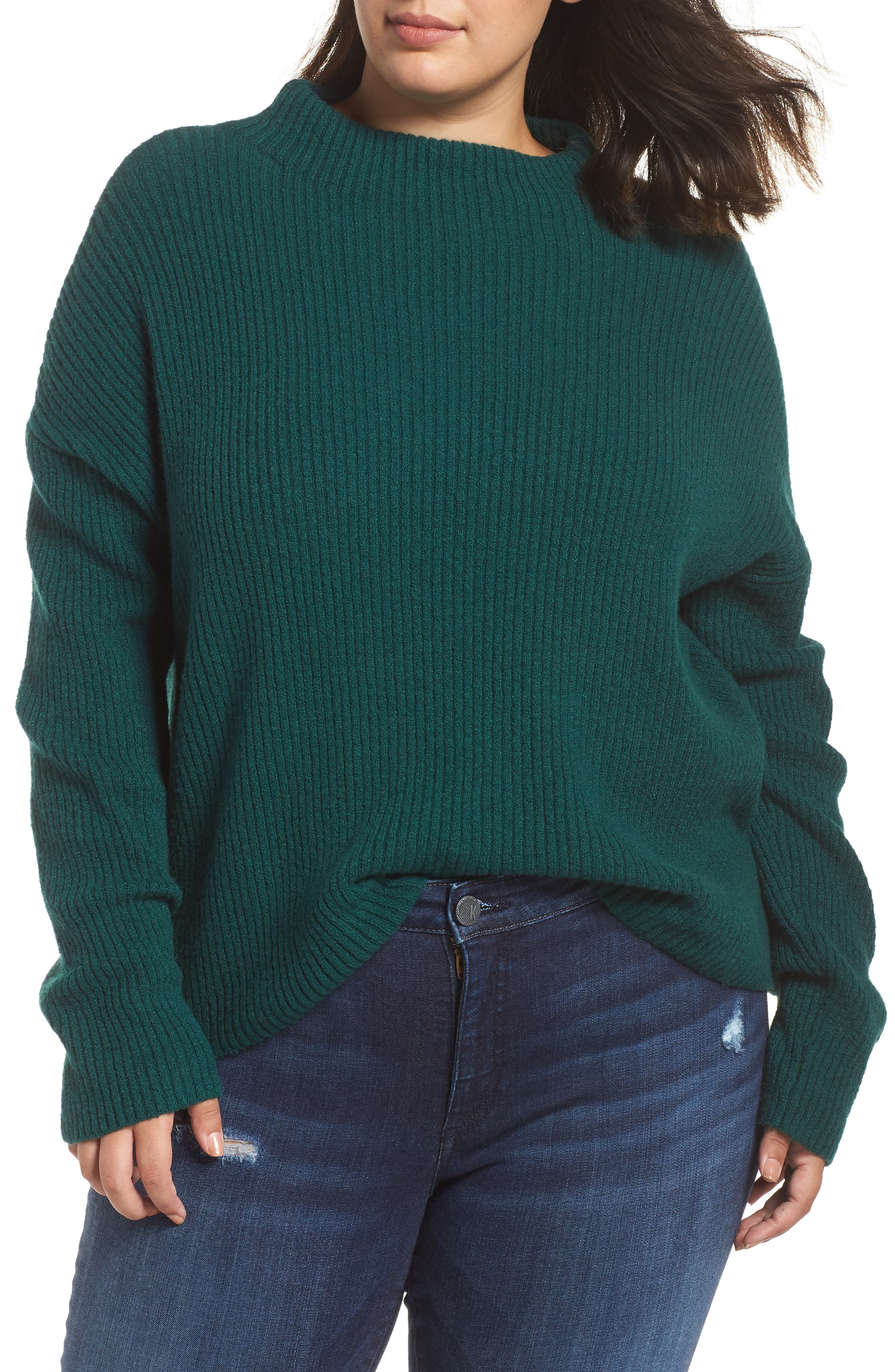 Ribbed Funnel Neck Sweater,                             Main thumbnail 1, color,                             GREEN BOTANICAL