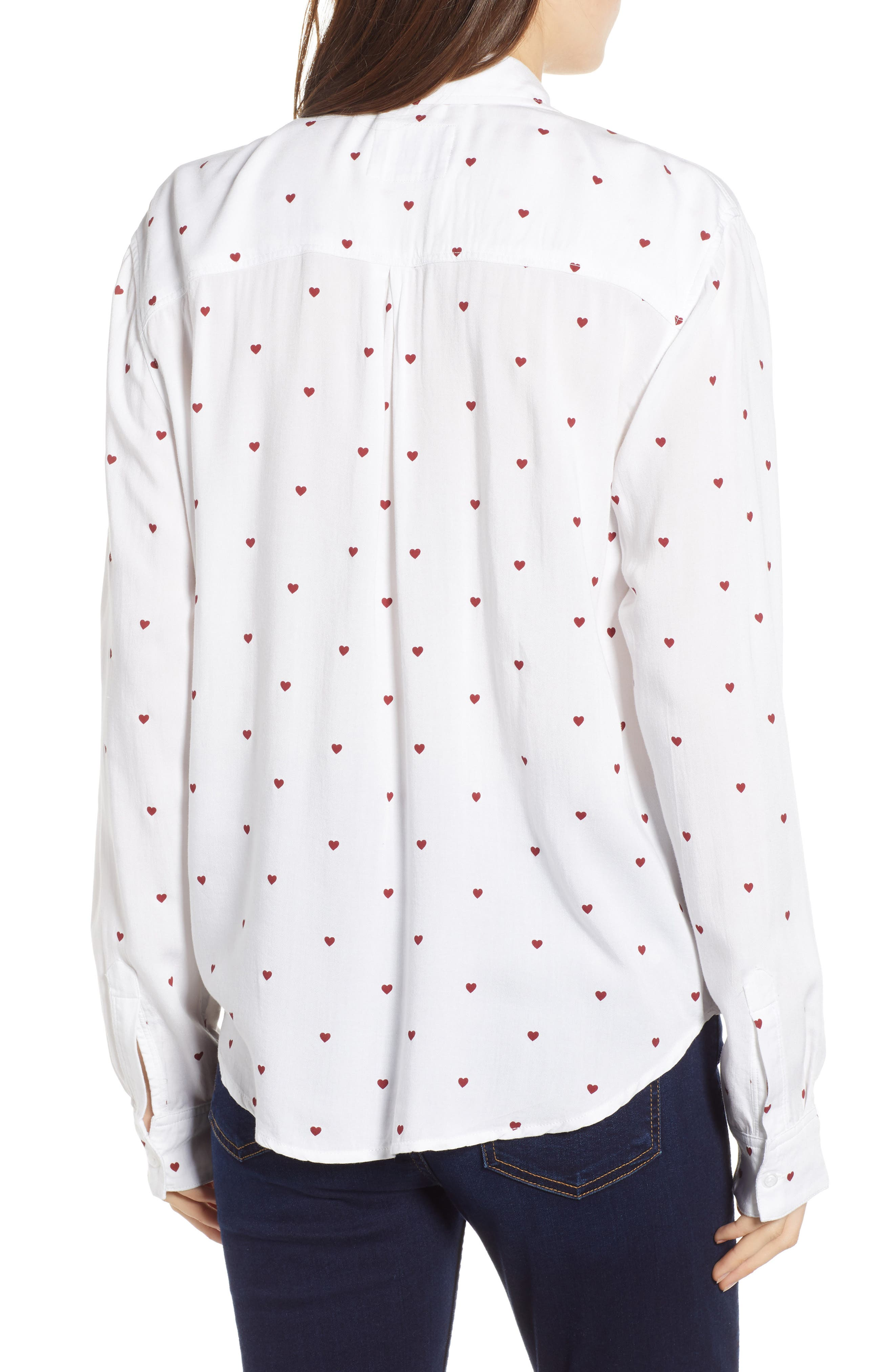 Rocsi Heart Print Shirt,                             Alternate thumbnail 2, color,                             WHITE RED HEARTS