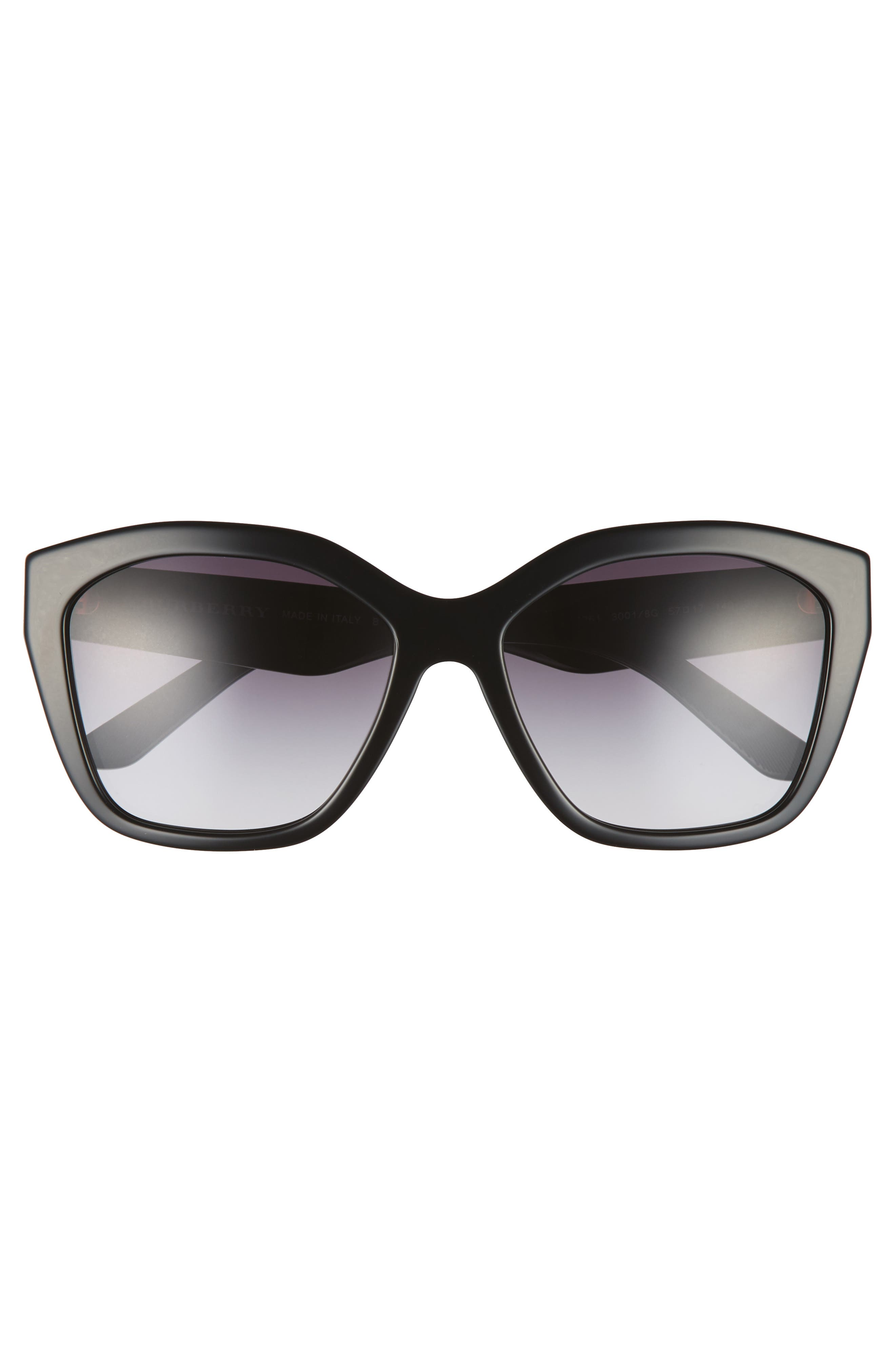 57mm Gradient Sunglasses,                             Alternate thumbnail 4, color,                             BLACK