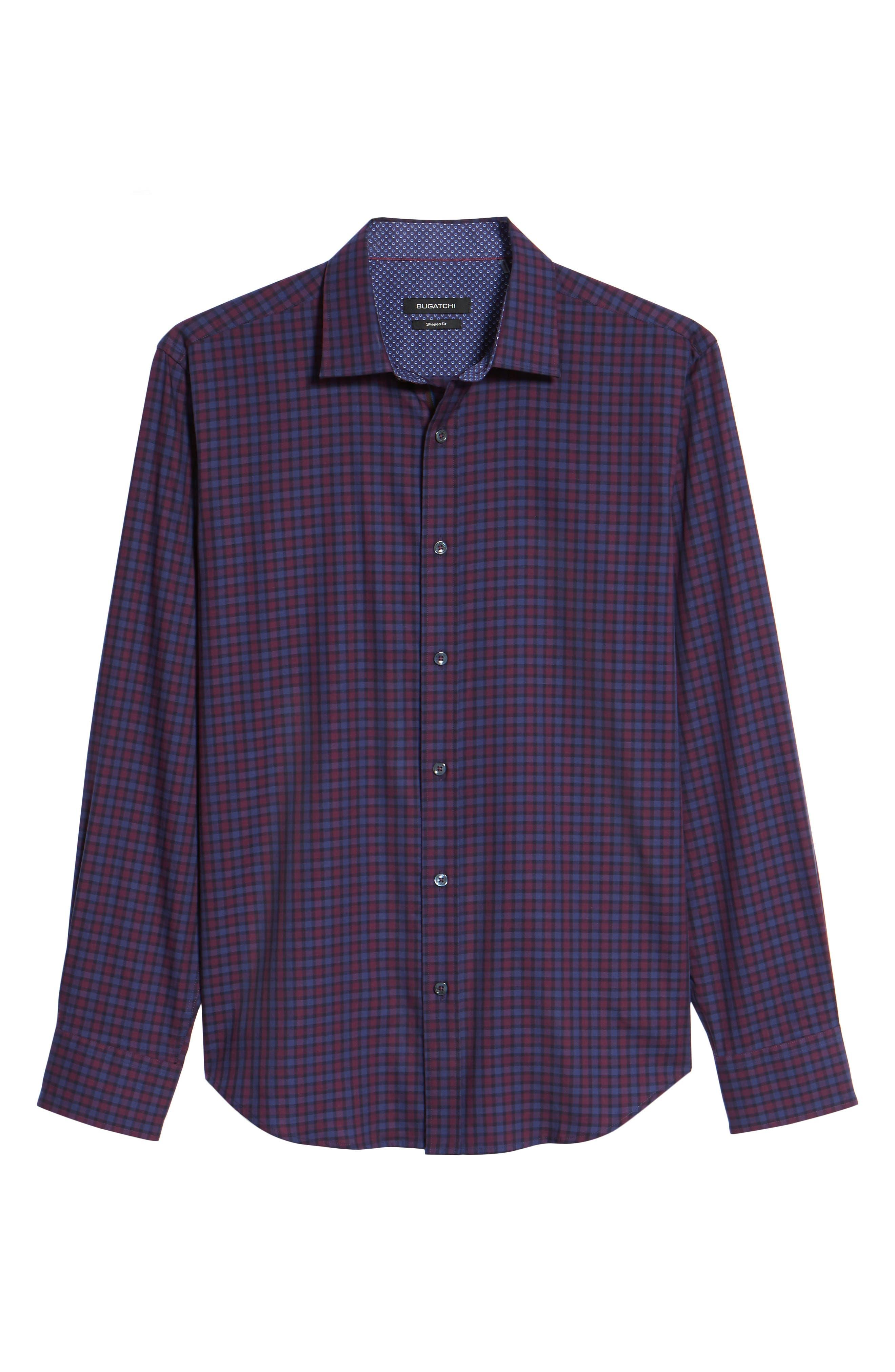 Shaped Fit Plaid Sport Shirt,                             Alternate thumbnail 6, color,                             503