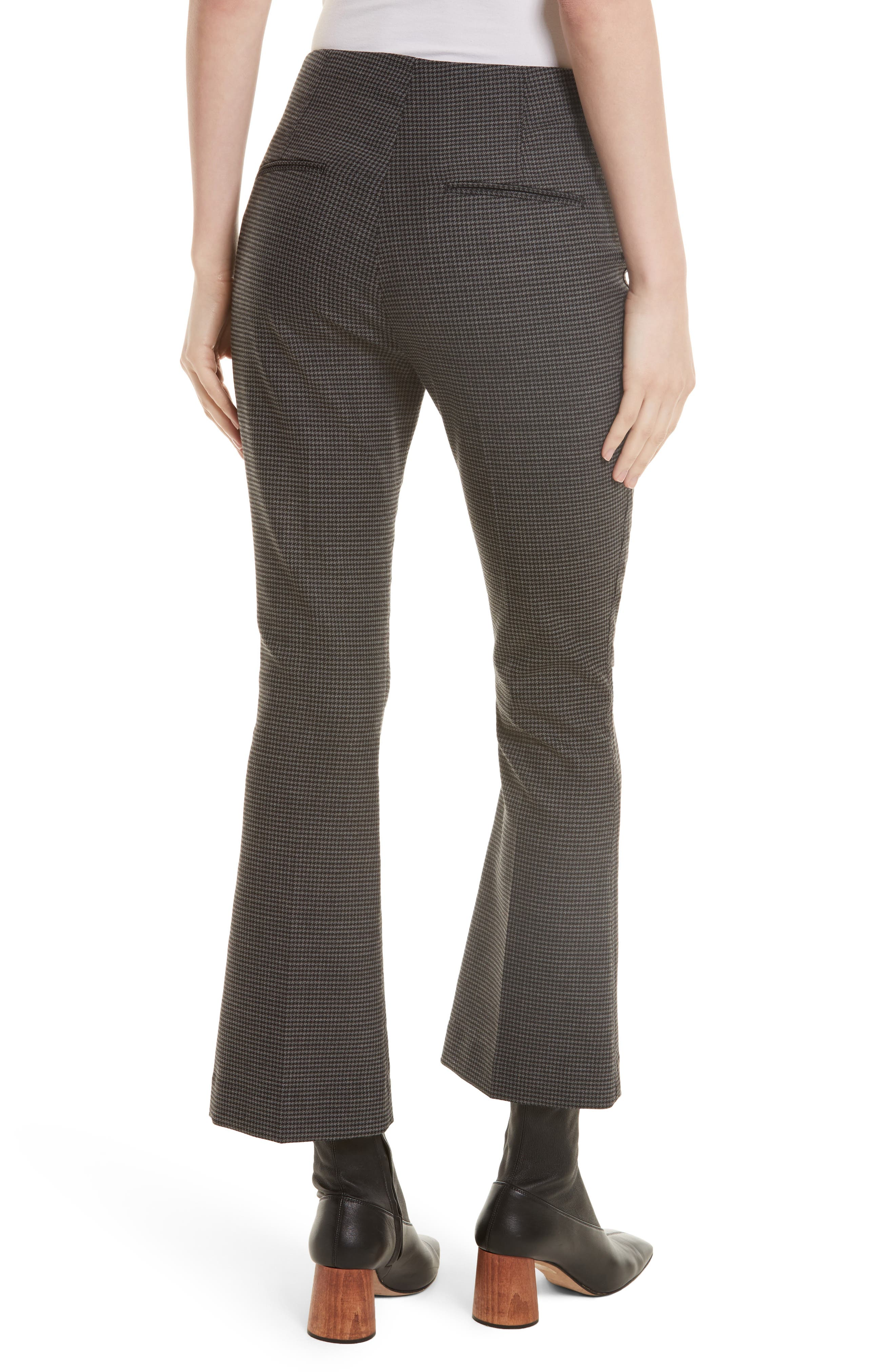 Mini Houndstooth Crop Flare Pants,                             Alternate thumbnail 2, color,                             029