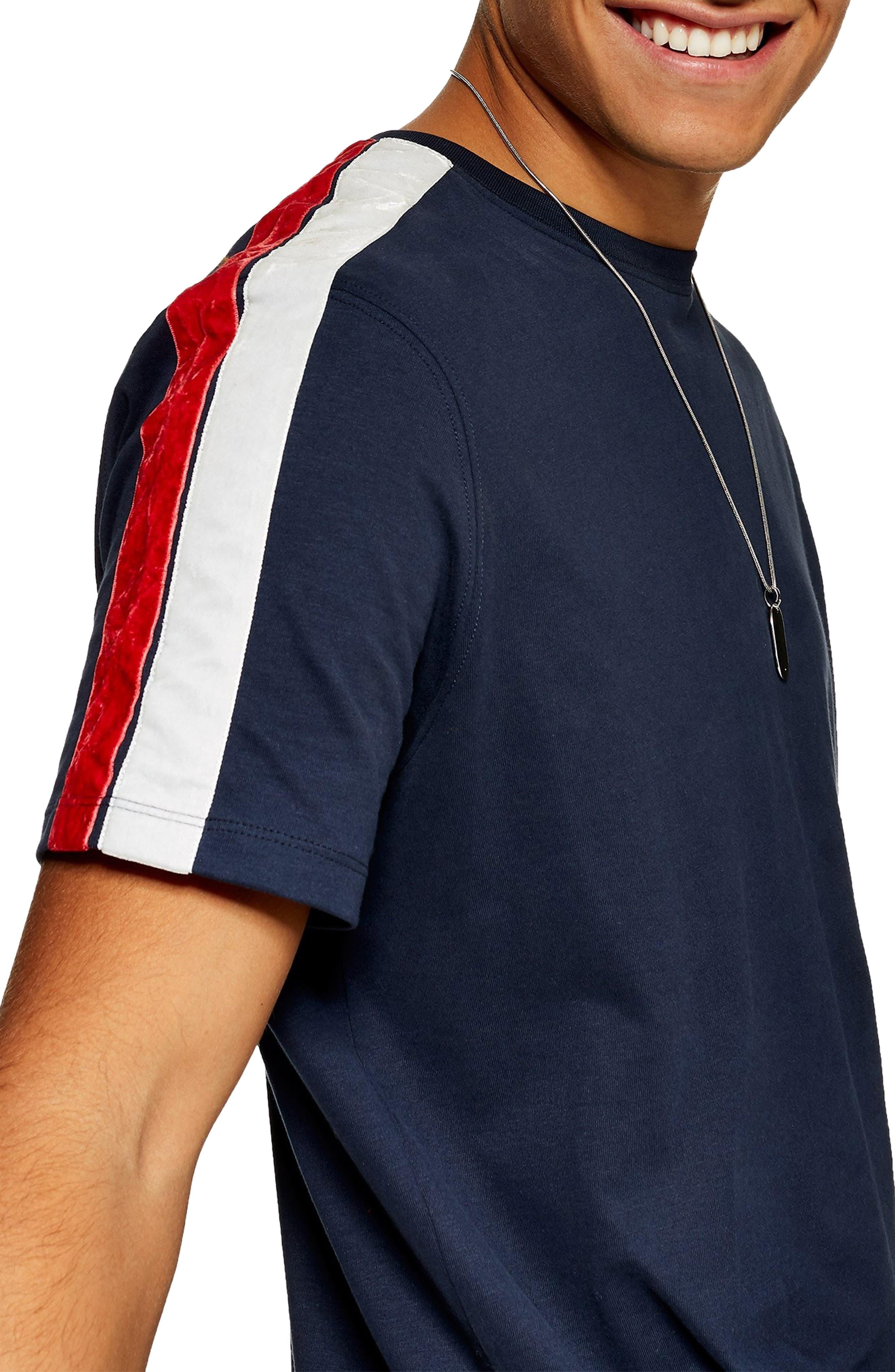 Velour Taped T-Shirt,                             Alternate thumbnail 3, color,                             NAVY BLUE