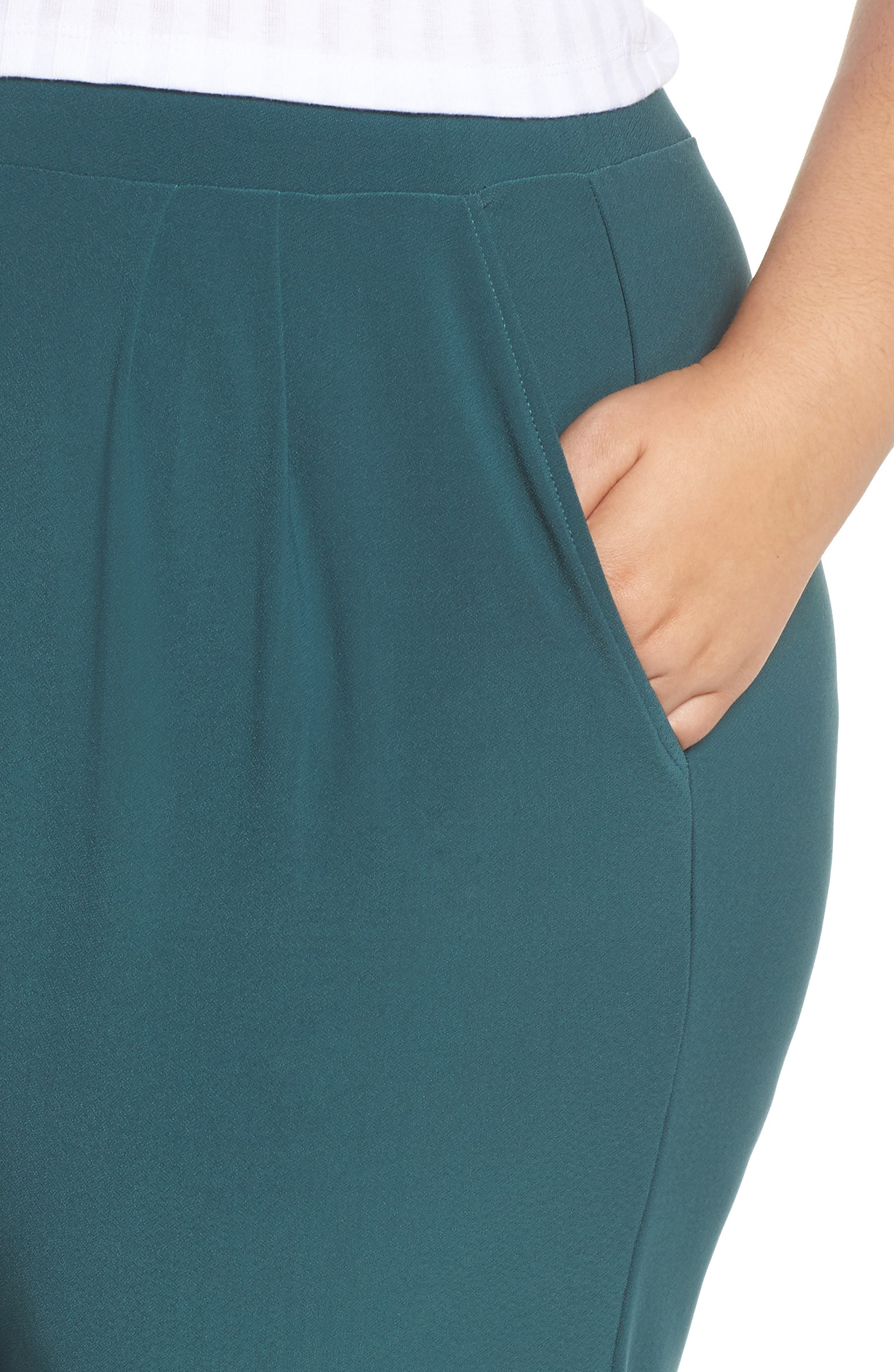 High Rise Pleated Pants,                             Alternate thumbnail 4, color,                             GREEN BUG