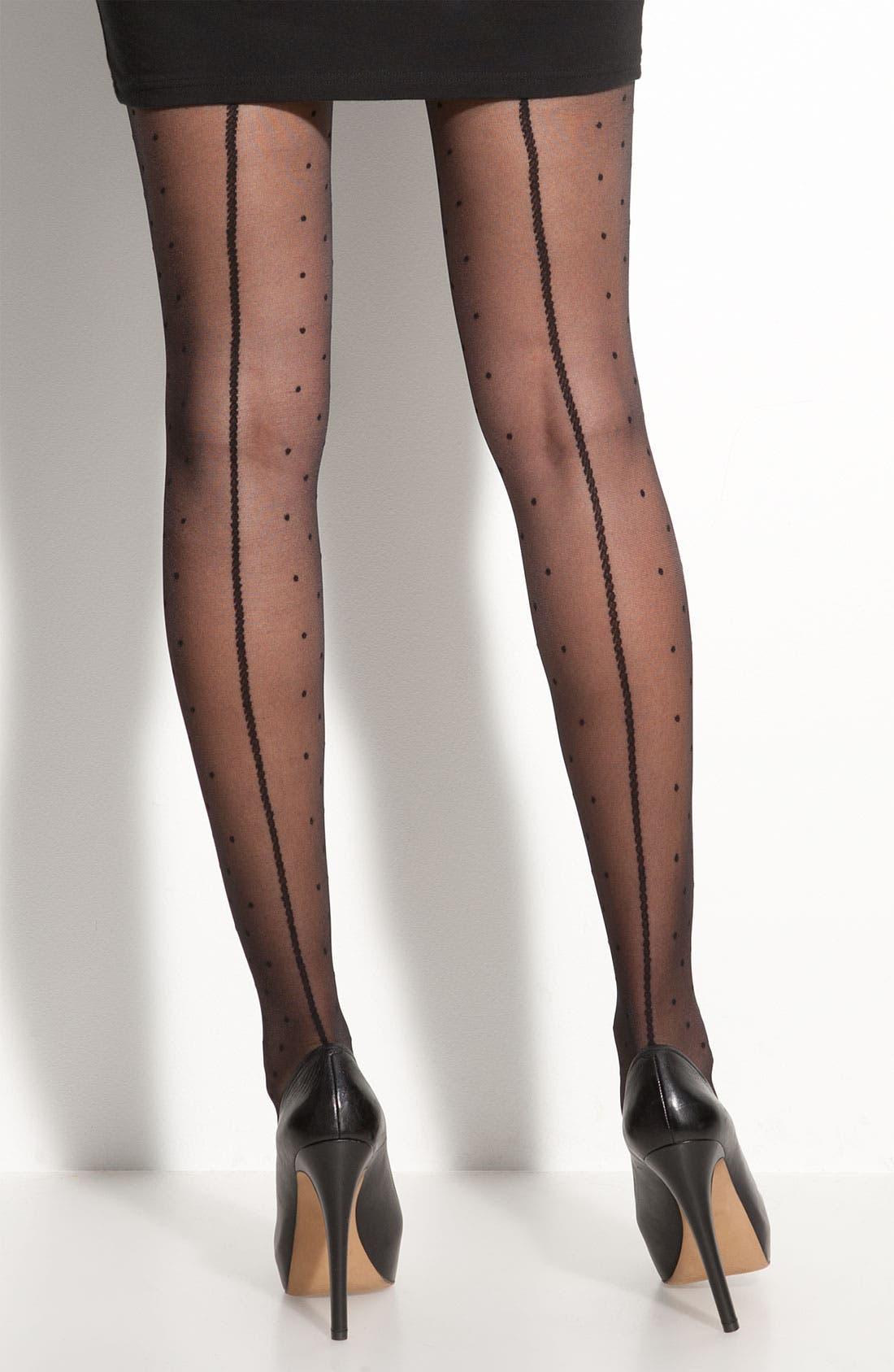 NORDSTROM 'Back Seam Dot' Stockings, Main, color, 001
