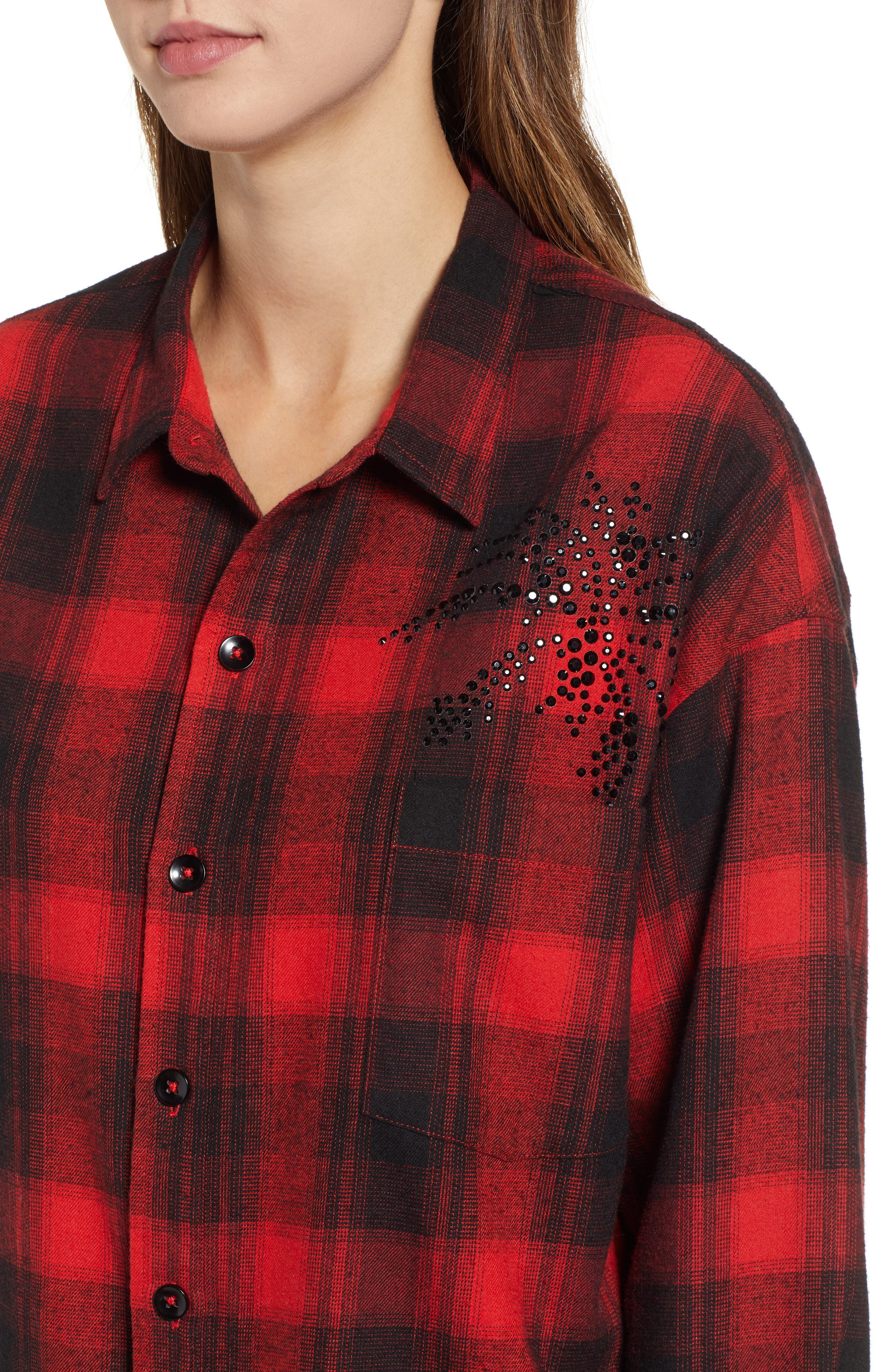 Plaid Embellished Oversize Shirt,                             Alternate thumbnail 4, color,                             RED/ BLACK